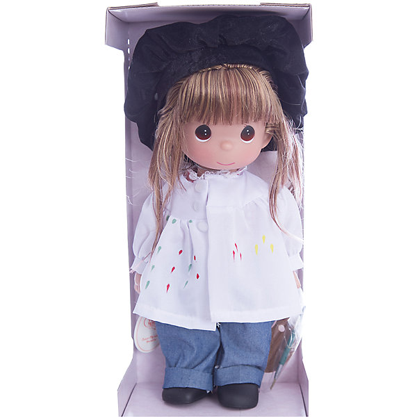 Кукла Художница, брюнетка, 30 см, Precious MomentsБренды кукол<br>Характеристики товара:<br><br>• возраст: от 5 лет;<br>• материал: винил, текстиль;<br>• высота куклы: 30 см;<br>• размер упаковки: 30х20х10 см;<br>• вес упаковки: 420 гр.;<br>• страна производитель: Филиппины.<br><br>Кукла «Художница» Precious Moments предстает в образе художника. Она одета в белую рубашку, синие джинсы и черный берет. В руках у нее палитра с красками и кисть. Волосы куколки заплетены в косичку. У куклы имеются подвижные детали. Она выполнена из качественного безопасного материала.<br><br>Куклу «Художница» Precious Moments можно приобрести в нашем интернет-магазине.<br>Ширина мм: 140; Глубина мм: 300; Высота мм: 80; Вес г: 428; Возраст от месяцев: 36; Возраст до месяцев: 2147483647; Пол: Женский; Возраст: Детский; SKU: 5482511;