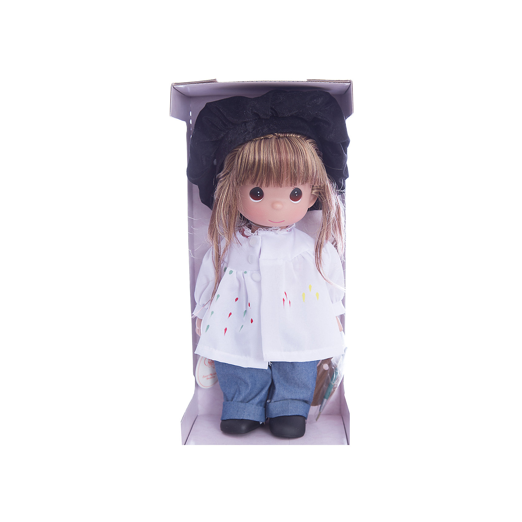 Кукла Художница, брюнетка, 30 см, Precious MomentsКлассические куклы<br>Характеристики товара:<br><br>• возраст: от 5 лет;<br>• материал: винил, текстиль;<br>• высота куклы: 30 см;<br>• размер упаковки: 30х20х10 см;<br>• вес упаковки: 420 гр.;<br>• страна производитель: Филиппины.<br><br>Кукла «Художница» Precious Moments предстает в образе художника. Она одета в белую рубашку, синие джинсы и черный берет. В руках у нее палитра с красками и кисть. Волосы куколки заплетены в косичку. У куклы имеются подвижные детали. Она выполнена из качественного безопасного материала.<br><br>Куклу «Художница» Precious Moments можно приобрести в нашем интернет-магазине.<br><br>Ширина мм: 140<br>Глубина мм: 300<br>Высота мм: 80<br>Вес г: 428<br>Возраст от месяцев: 36<br>Возраст до месяцев: 2147483647<br>Пол: Женский<br>Возраст: Детский<br>SKU: 5482511
