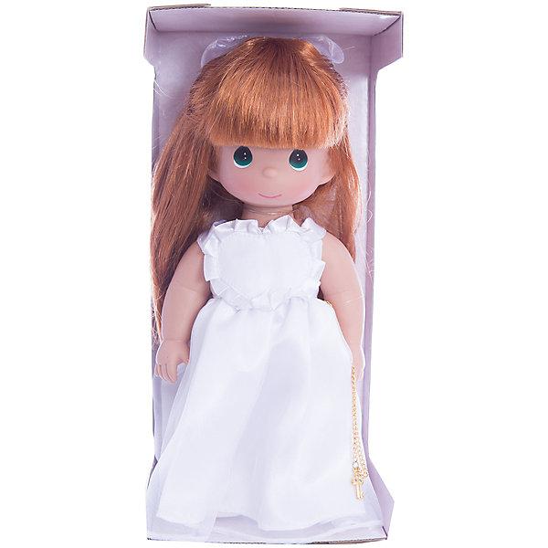Кукла Ключ к моему сердцу, рыжая 30 см, Precious MomentsКуклы<br>Характеристики товара:<br><br>• возраст: от 5 лет;<br>• материал: винил, текстиль;<br>• высота куклы: 30 см;<br>• размер упаковки: 30х10х18 см;<br>• вес упаковки: 470 гр.;<br>• страна производитель: Филиппины.<br><br>Кукла «Ключ к моему сердцу» Precious Moments рыжая — коллекционная кукла с выразительными зелеными глазками и рыжими волосами, украшенными бантиком. Куколка одета в белоснежное платье. В руках у нее цепочка с ключом. У куклы имеются подвижные детали. Она выполнена из качественного безопасного материала.<br><br>Куклу «Ключ к моему сердцу» Precious Moments рыжую можно приобрести в нашем интернет-магазине.<br><br>Ширина мм: 140<br>Глубина мм: 300<br>Высота мм: 80<br>Вес г: 428<br>Возраст от месяцев: 36<br>Возраст до месяцев: 2147483647<br>Пол: Женский<br>Возраст: Детский<br>SKU: 5482512