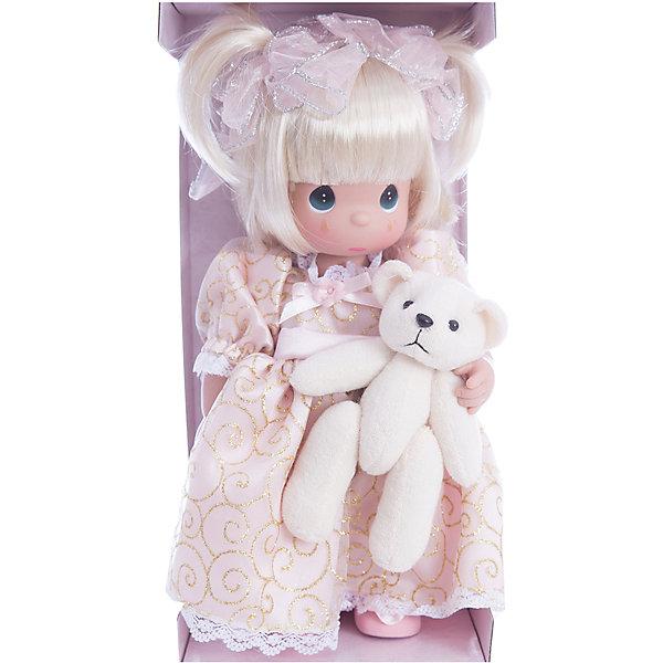 Кукла Давай поиграем, 30 см, Precious MomentsКуклы<br>Характеристики товара:<br><br>• возраст: от 5 лет;<br>• материал: винил, текстиль;<br>• высота куклы: 30 см;<br>• размер упаковки: 35х20х10 см;<br>• вес упаковки: 450 гр.;<br>• страна производитель: Филиппины.<br><br>Кукла «Давай поиграем» Precious Moments — коллекционная кукла с выразительными зелеными глазками и белыми короткими волосами, завязанными в хвостики. Куколка одета в розовое платье с золотистым узором. В руках у нее плюшевый мишка. У куклы имеются подвижные детали. Она выполнена из качественного безопасного материала.<br><br>Куклу «Давай поиграем» Precious Moments можно приобрести в нашем интернет-магазине.<br><br>Ширина мм: 140<br>Глубина мм: 300<br>Высота мм: 80<br>Вес г: 428<br>Возраст от месяцев: 36<br>Возраст до месяцев: 2147483647<br>Пол: Женский<br>Возраст: Детский<br>SKU: 5482513