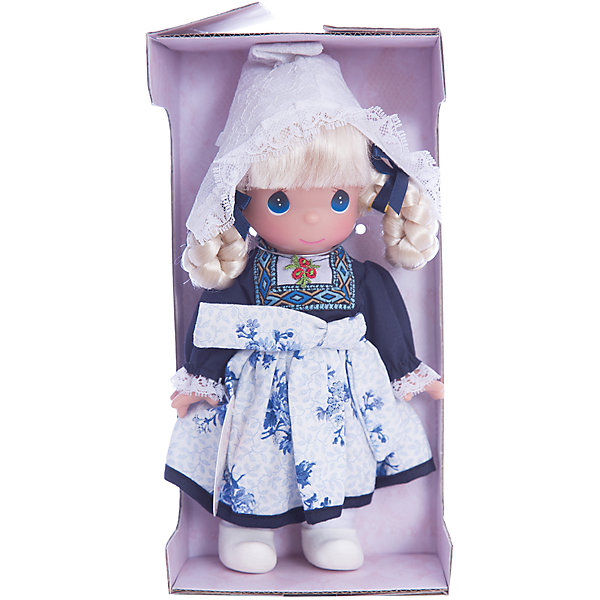 Кукла Элин. Голландия, 21 см, Precious MomentsКуклы<br>Характеристики товара:<br><br>• возраст: от 5 лет;<br>• материал: винил, текстиль;<br>• высота куклы: 21 см;<br>• размер упаковки: 25х15х10 см;<br>• вес упаковки: 175 гр.;<br>• страна производитель: Филиппины.<br><br>Кукла «Элин. Голландия» Precious Moments — коллекционная кукла с выразительными голубыми глазками и белыми волосами, заплетенными в косы. Куколка одета в традиционное платье с вышивкой и узорами. На голове у нее кружевной колпак. У куклы имеются подвижные детали. Она выполнена из качественного безопасного материала.<br><br>Куклу «Элин. Голландия» Precious Moments можно приобрести в нашем интернет-магазине.<br>Ширина мм: 60; Глубина мм: 210; Высота мм: 60; Вес г: 110; Возраст от месяцев: 36; Возраст до месяцев: 2147483647; Пол: Женский; Возраст: Детский; SKU: 5482514;