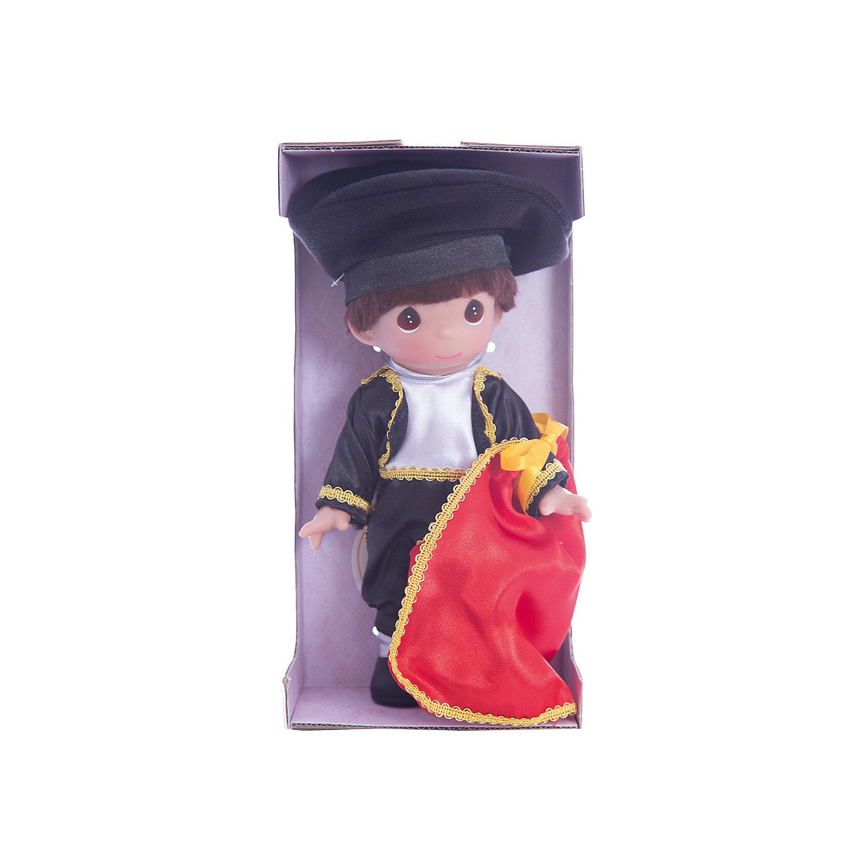 Кукла Сантьяго. Испания, 21 см, Precious MomentsКуклы<br>Характеристики товара:<br><br>• возраст: от 5 лет;<br>• материал: винил, текстиль;<br>• высота куклы: 21 см;<br>• размер упаковки: 25х13х7 см;<br>• вес упаковки: 170 гр.;<br>• страна производитель: Филиппины.<br><br>Кукла «Сантьяго. Испания» Precious Moments — коллекционная кукла с выразительными карими глазками. Сантьяго одет в традиционный костюм испанского тореадора. На нем черный костюм и шляпа, а в руках красная тряпка. У куклы имеются подвижные детали. Она выполнена из качественного безопасного материала.<br><br>Куклу «Сантьяго. Испания» Precious Moments можно приобрести в нашем интернет-магазине.<br><br>Ширина мм: 60<br>Глубина мм: 210<br>Высота мм: 60<br>Вес г: 110<br>Возраст от месяцев: 36<br>Возраст до месяцев: 2147483647<br>Пол: Женский<br>Возраст: Детский<br>SKU: 5482517