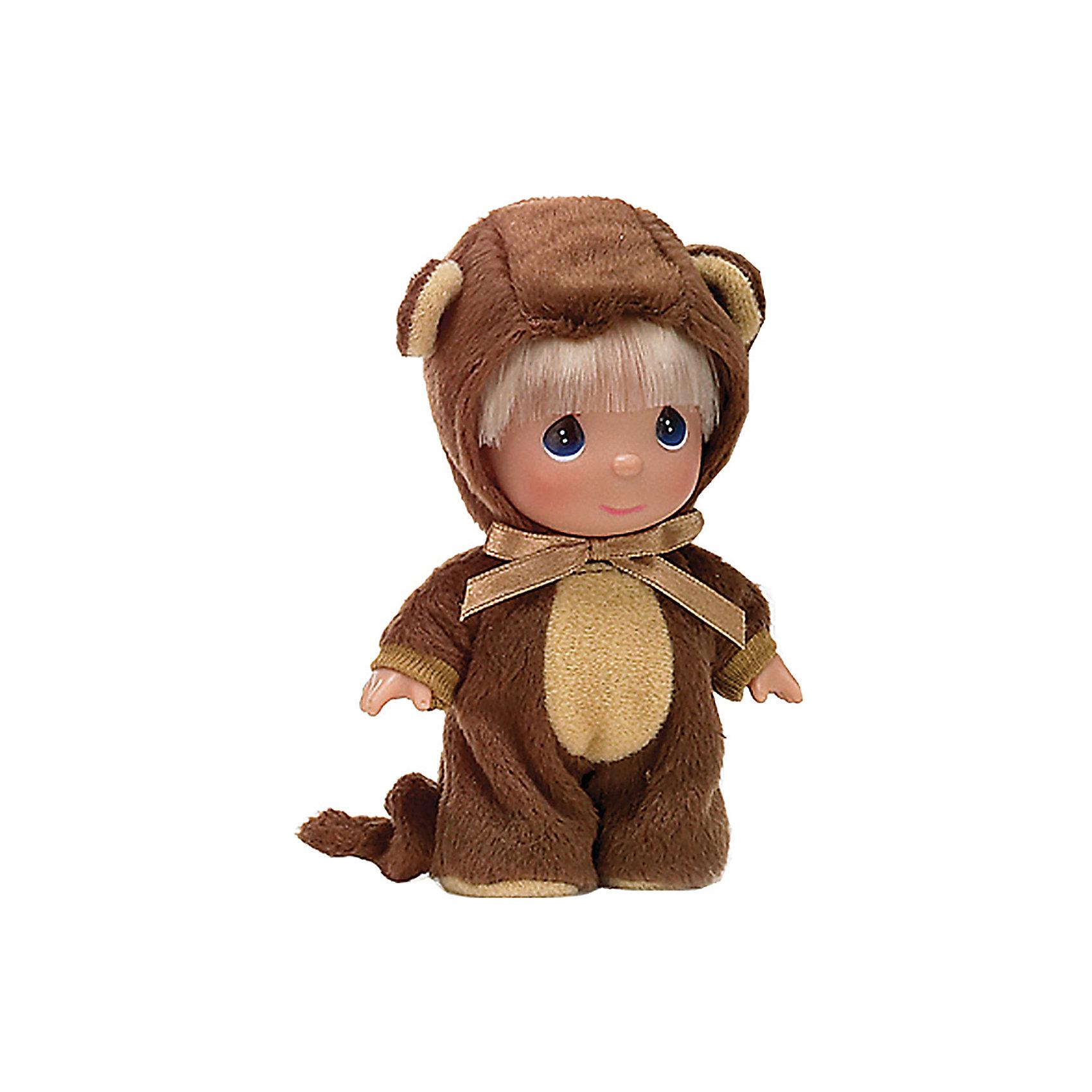 Кукла Обезьянка, 14 см, Precious MomentsМини-куклы<br>Характеристики товара:<br><br>• возраст: от 5 лет;<br>• материал: винил, текстиль;<br>• высота куклы: 14 см;<br>• размер упаковки: 16х10х5 см;<br>• вес упаковки: 70 гр.;<br>• страна производитель: Филиппины.<br><br>Кукла «Обезьянка» 14 см Precious Moments — коллекционная кукла с выразительными голубыми глазками и светлыми волосами. Она одета в пушистый костюм обезьянки с ушами. У куклы имеются подвижные детали. Она выполнена из качественного безопасного материала.<br><br>Куклу «Обезьянка» 14 см Precious Moments можно приобрести в нашем интернет-магазине.<br><br>Ширина мм: 60<br>Глубина мм: 140<br>Высота мм: 40<br>Вес г: 80<br>Возраст от месяцев: 36<br>Возраст до месяцев: 2147483647<br>Пол: Женский<br>Возраст: Детский<br>SKU: 5482519