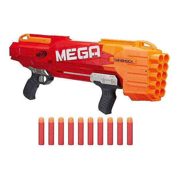 Бластер Hasbro Nerf Мега ТвиншокИгрушечные пистолеты и бластеры<br>Большой бластер МЕГА с зарядом до 10 стрел! Стреляет одной или одновреммно двумя стрелами на расстояние до 23 метров!<br><br>Ширина мм: 755<br>Глубина мм: 322<br>Высота мм: 91<br>Вес г: 1787<br>Возраст от месяцев: 96<br>Возраст до месяцев: 144<br>Пол: Мужской<br>Возраст: Детский<br>SKU: 5482535