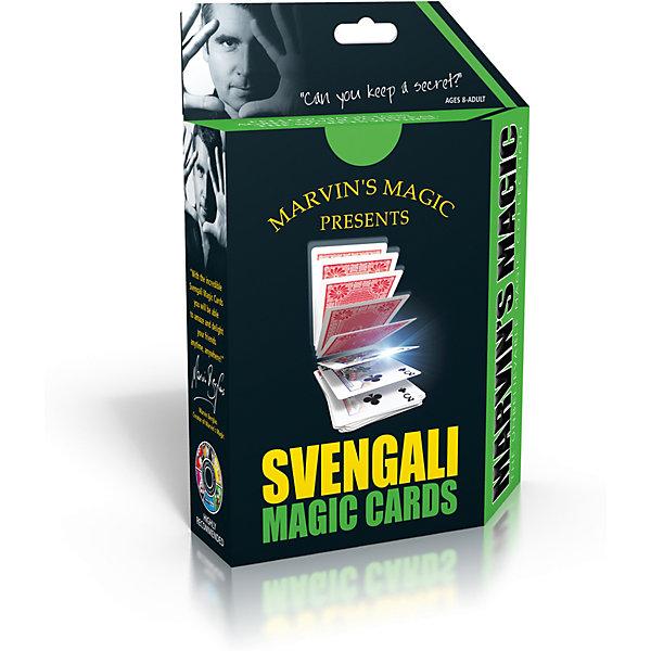Набор фокусов Волшебные карты свенгалиФокусы и розыгрыши<br>Набор фокусов Волшебные карты свенгали.<br><br>Характеристики:<br><br>• Возраст: от 8 лет<br>• В наборе: колода карт свенгали, подробная инструкция<br>• Материал: картон<br>• Упаковка: картонная коробка<br>• Размер упаковки: 19х14х4 см.<br><br>С картами свенгали от Marvins Magic Вы быстро приобретете репутацию профессионального карточного фокусника. Доступные инструкции на русском языке с поясняющими рисунками помогут Вам овладеть навыками несложных, но эффектных карточных трюков. Набор Волшебные карты свенгали от Marvins Magic - это отличный тренажер для развития сообразительности, ловкости и быстроты реакции.<br><br>Набор фокусов Волшебные карты свенгали можно купить в нашем интернет-магазине.<br>Ширина мм: 140; Глубина мм: 40; Высота мм: 190; Вес г: 158; Возраст от месяцев: 96; Возраст до месяцев: 2147483647; Пол: Унисекс; Возраст: Детский; SKU: 5482544;