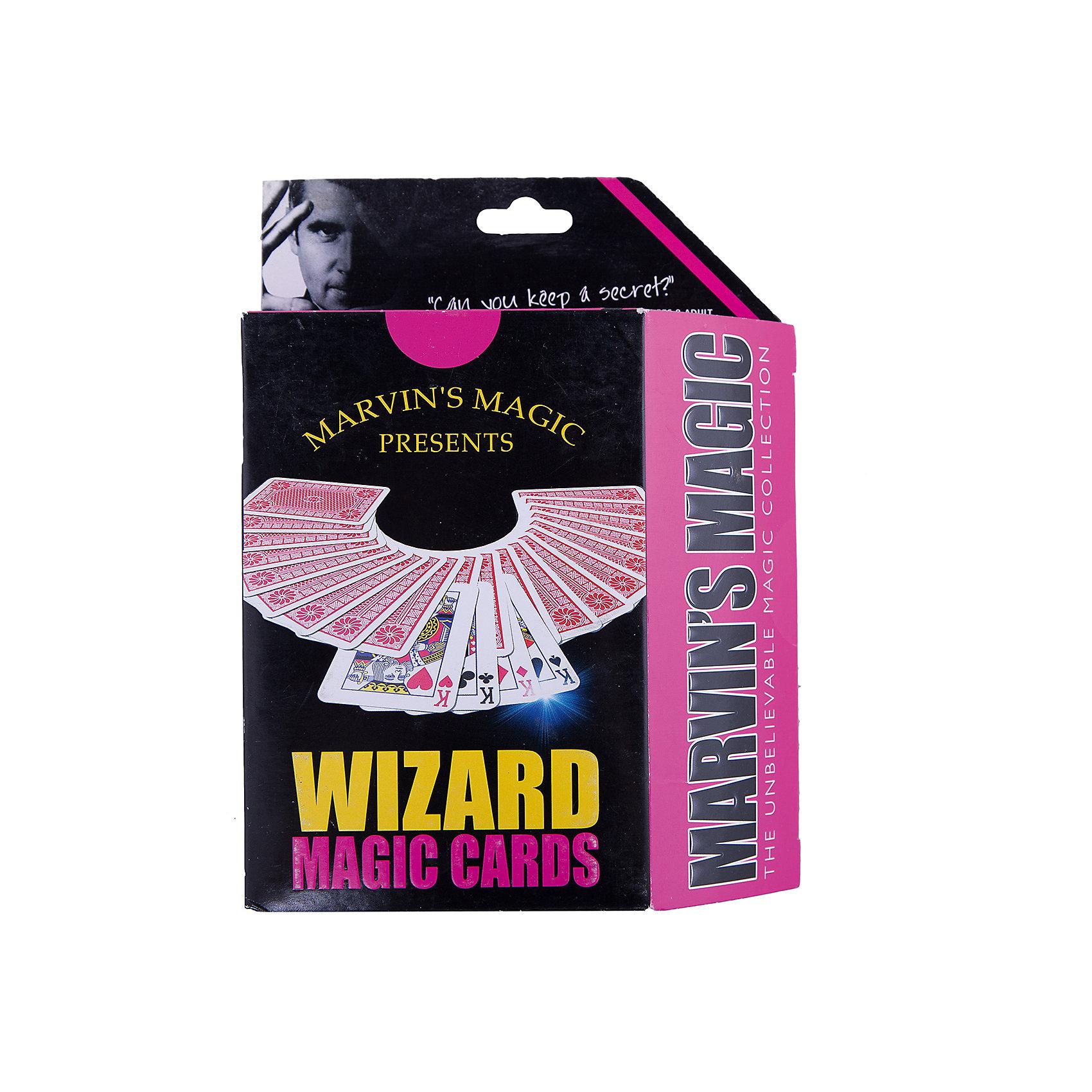 Набор фокусов Волшебные картыНаборы для фокусов<br>Набор фокусов Волшебные карты.<br><br>Характеристики:<br><br>• Возраст: от 8 лет<br>• В наборе: коническая колода карт, подробная инструкция<br>• Количество фокусов: 23<br>• Материал: картон<br>• Упаковка: картонная коробка<br>• Размер упаковки: 19х14х4 см.<br><br>Набор Волшебные карты от Marvins Magic превратит Вас в настоящего карточного фокусника! Набор включает инструкцию с описанием трюков и фокусов на русском языке с поясняющими рисунками, а также коническую колоду, которая состоит из карт, которые немного шире с одного конца, чем с другого. Сужение колоды незаметно для неосведомленных людей. Фокусы и трюки с коническими картами основываются на том что если вытащить одну карту, перевернуть и положить ее обратно в колоду, то карту будет легко определить из-за того, что ее широкая грань будет отличаться от узких. <br><br>Перевернутую карту тяжело увидеть, но Вы легко сможете ее почувствовать. С набором Волшебные карты от Marvins Magic Вы научитесь несложным в исполнении, но эффектным и впечатляющим трюкам с картами! Кроме того набор Волшебные карты от Marvins Magic - это отличный тренажер для развития сообразительности, ловкости и быстроты реакции.<br><br>Набор фокусов Волшебные карты можно купить в нашем интернет-магазине.<br><br>Ширина мм: 140<br>Глубина мм: 40<br>Высота мм: 190<br>Вес г: 152<br>Возраст от месяцев: 96<br>Возраст до месяцев: 2147483647<br>Пол: Унисекс<br>Возраст: Детский<br>SKU: 5482545