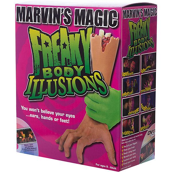 Набор фокусов Смешные ужасы с  рукойФокусы и розыгрыши<br>Набор фокусов Смешные ужасы с рукой.<br><br>Характеристики:<br><br>• Возраст: от 8 лет<br>• В наборе: бутафорская рука, карточки, DVD диск с инструкциями<br>• Материал: пластик<br>• Упаковка: картонная коробка<br><br>Набор Смешные ужасы c рукой позволит маленьким фокусникам проделывать самые невероятные трюки и создавать удивительные иллюзии со своим телом. В набор входит реалистичная бутафорская рука, DVD диск с инструкциями о том, как можно напугать и удивить с помощью этого аксессуара. Набор развивает координацию движений, артистизм, навыки общения и выступления на публике.<br><br>Набор фокусов Смешные ужасы с рукой можно купить в нашем интернет-магазине.<br>Ширина мм: 250; Глубина мм: 100; Высота мм: 29; Вес г: 900; Возраст от месяцев: 96; Возраст до месяцев: 2147483647; Пол: Унисекс; Возраст: Детский; SKU: 5482547;