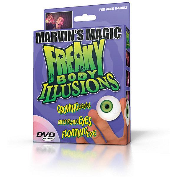 Набор фокусов  Смешные ужасы, иллюзии с  глазамиФокусы и розыгрыши<br>Набор фокусов Смешные ужасы, иллюзии с глазами.<br><br>Характеристики:<br><br>• Возраст: от 8 лет<br>• В наборе: черный платок, 2 глазных яблока, набор карточек, карточка члена клуба Марвинс Мэйджик, DVD диск с инструкциями<br>• Материал: пластик, текстиль<br>• Упаковка: картонная коробка<br><br>Набор Смешные ужасы, иллюзии с глазами позволит маленьким фокусникам проделывать самые невероятные трюки и создавать удивительные иллюзии со своим телом. В набор входит два реалистичных бутафорских глазных яблока, черный платок, набор карточек и DVD диск с инструкциями о том, как можно напугать и удивить с помощью этих аксессуаров. Набор развивает координацию движений, артистизм, навыки общения и выступления на публике.<br><br>Набор фокусов Смешные ужасы, иллюзии с глазами можно купить в нашем интернет-магазине.<br><br>Ширина мм: 160<br>Глубина мм: 55<br>Высота мм: 235<br>Вес г: 205<br>Возраст от месяцев: 96<br>Возраст до месяцев: 2147483647<br>Пол: Унисекс<br>Возраст: Детский<br>SKU: 5482549