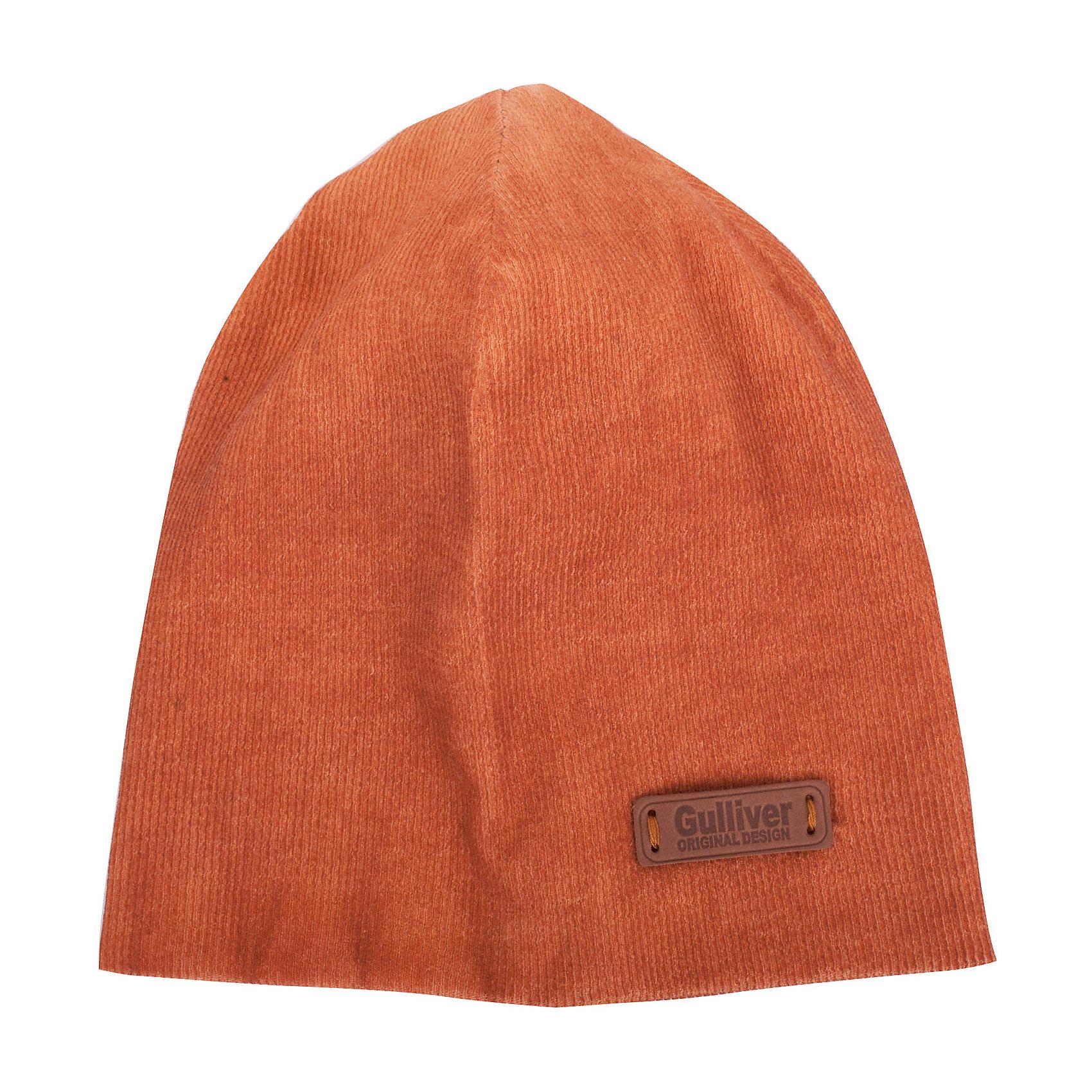 Шапка для мальчика GulliverДемисезонные<br>Стильная трикотажная шапка для мальчика отлично дополнит повседневный образ ребенка. Мягкая, легкая, комфортная, она отлично разместится в кармане пальто или куртки, чтобы в любой момент защитить модника от непогоды и ветра.<br>Состав:<br>97% хлопок        3% эластан<br><br>Ширина мм: 89<br>Глубина мм: 117<br>Высота мм: 44<br>Вес г: 155<br>Цвет: оранжевый<br>Возраст от месяцев: 48<br>Возраст до месяцев: 60<br>Пол: Мужской<br>Возраст: Детский<br>Размер: 52,54<br>SKU: 5482850