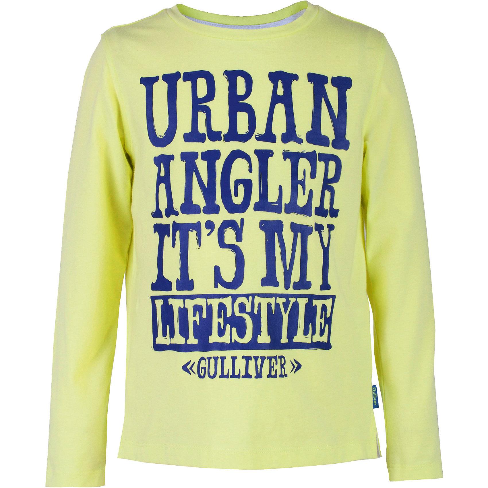 Футболка для мальчика GulliverВы хотите купить интересную цветную футболку с длинным рукавом для мальчика? Предпочитаете приобрести модную необычную модель, при этом качественную брендовую вещь, которая добавит в летний гардероб ребенка свежесть и позитив? Тогда эта классная яркая футболка с интересным шрифтовым принтом - отличный выбор! Модная салатовая футболка с длинным рукавом выполнена из мягкого хлопка с эластаном. Она сделает каждый день ребенка ярким и увлекательным, подарив комфорт и свободу движений!<br>Состав:<br>95% хлопок      5% эластан<br><br>Ширина мм: 199<br>Глубина мм: 10<br>Высота мм: 161<br>Вес г: 151<br>Цвет: зеленый<br>Возраст от месяцев: 108<br>Возраст до месяцев: 120<br>Пол: Мужской<br>Возраст: Детский<br>Размер: 140,122,128,134<br>SKU: 5482922
