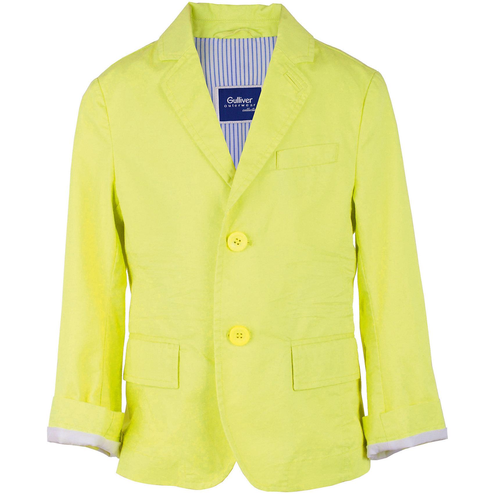 Пиджак для мальчика GulliverОдежда<br>Шикарный салатовый пиджак превратит любого озорника и непоседу в истинного джентльмена. Яркий пиджак из 100% хлопка - непременный атрибут модного и элегантного детского гардероба! Идеальная форма, правильная посадка изделия на фигуре, выразительные замины, а также красивая внутренняя обработка делают пиджак необычным и интересным. При этом, ребенок в нем будет чувствовать себя абсолютно свободно и непринужденно! Стильный пиджак для мальчика подчеркнет индивидуальность и сделает любой комплект в стиле casual  ярким и запоминающимся!<br>Состав:<br>100% хлопок<br><br>Ширина мм: 247<br>Глубина мм: 16<br>Высота мм: 140<br>Вес г: 225<br>Цвет: зеленый<br>Возраст от месяцев: 108<br>Возраст до месяцев: 120<br>Пол: Мужской<br>Возраст: Детский<br>Размер: 140,134,128,122<br>SKU: 5482957