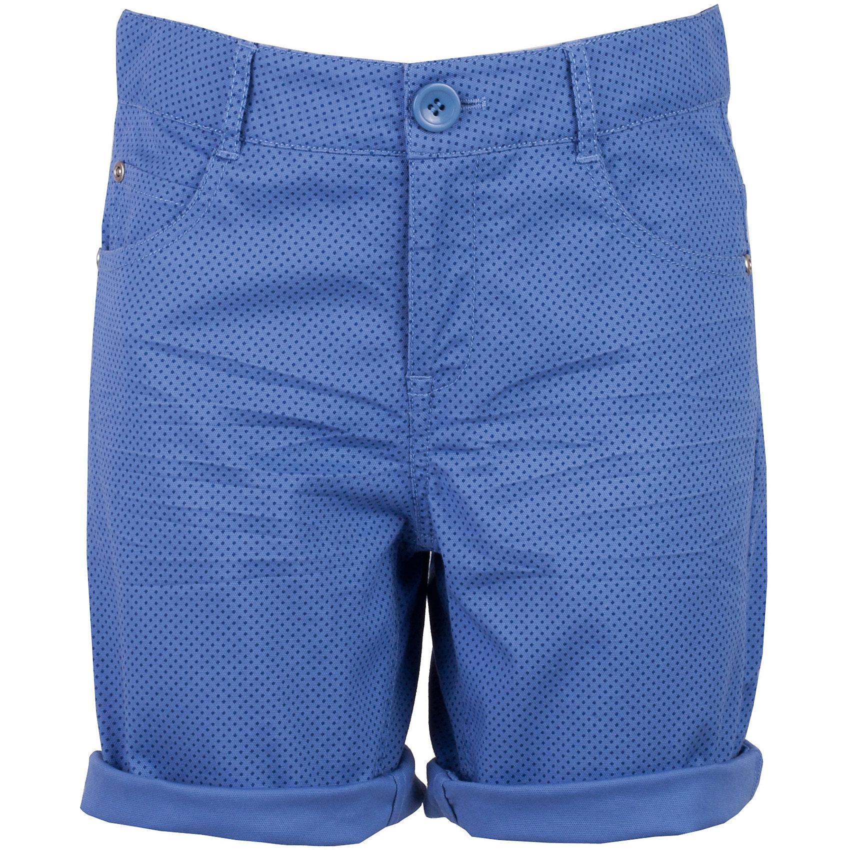 Шорты для мальчика GulliverШорты, бриджи, капри<br>Несмотря на то, что джинсовые шорты по-прежнему занимают в гардеробе ребенка лидирующее место, текстильные шорты для мальчика никто не отменял! Везде, где шорты из джинсы неуместны или просто хочется разнообразия, оригинальные голубые шорты помогут создать прекрасный look. Модный мелкий рисунок придает модели особый шарм. Темно-голубой  цвет выглядит нарядно, благородно, изысканно! Если вы хотите купить детские шорты, которые подчеркнут стиль и индивидуальность вашего ребенка, эти классные шорты для мальчика с фирменной брендированной фурнитурой - лучшее решение для модного лета!<br>Состав:<br>98% хлопок      2% эластан<br><br>Ширина мм: 191<br>Глубина мм: 10<br>Высота мм: 175<br>Вес г: 273<br>Цвет: голубой<br>Возраст от месяцев: 84<br>Возраст до месяцев: 96<br>Пол: Мужской<br>Возраст: Детский<br>Размер: 128,134,140,122<br>SKU: 5482962