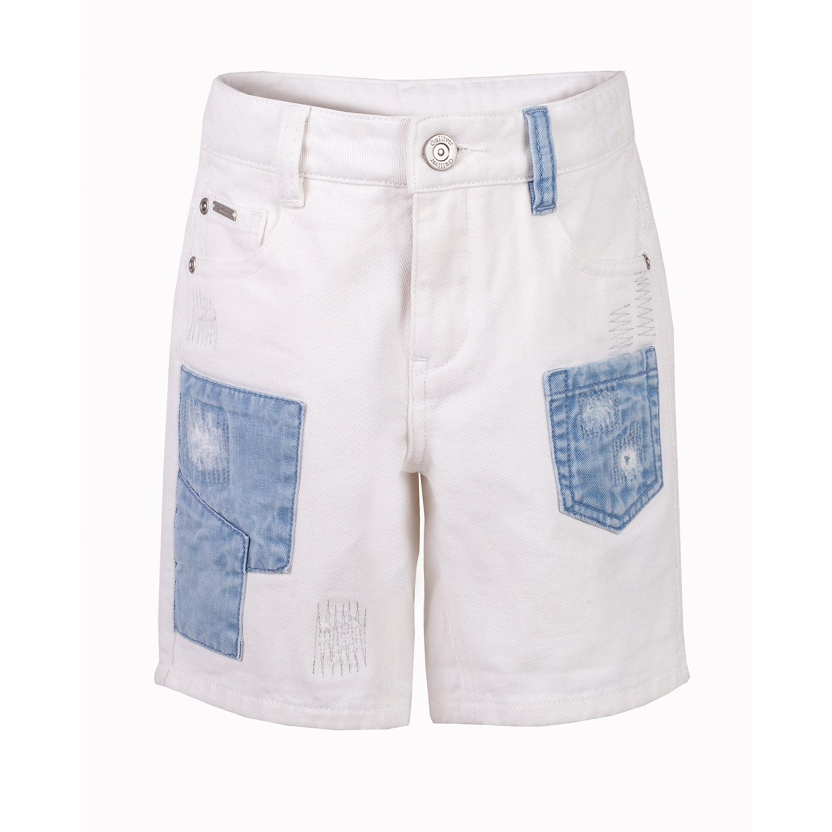 Шорты джинсовые для мальчика GulliverДжинсовая одежда<br>Модные джинсовые шорты для мальчика - изделие из разряда must have! Их необходимость в летнем сезоне давно доказана! Но выбрать шорты, отвечающие и функциональным, и стилистическим требованиям, не так-то просто. Мы давно привыкли к варке, потертостям, повреждениям, но дизайнеры Gulliver в сезоне Весна/Лето 2017 предлагают обратить внимание на новый тренд. Заплатки! Они делают шорты яркими и необычными. Если вы идете в ногу со временем и хотите сформировать летний гардероб ребенка из модных интересных вещей, вам стоит купить детские шорты с джинсовыми заплатками и ваш ребенок, наверняка, их оценит!<br>Состав:<br>100% хлопок<br><br>Ширина мм: 191<br>Глубина мм: 10<br>Высота мм: 175<br>Вес г: 273<br>Цвет: белый<br>Возраст от месяцев: 72<br>Возраст до месяцев: 84<br>Пол: Мужской<br>Возраст: Детский<br>Размер: 122,140,128,134<br>SKU: 5482967