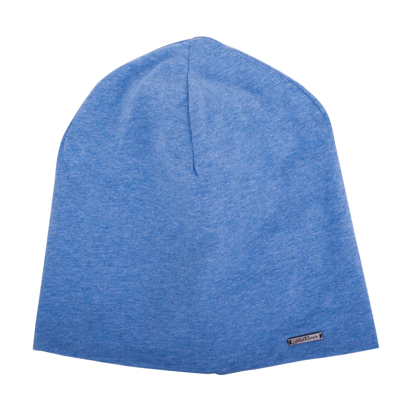 Шапка для мальчика GulliverГоловные уборы<br>Стильная трикотажная шапка для мальчика отлично дополнит повседневный образ ребенка. Мягкая, легкая, комфортная, она отлично разместится  в кармане пальто или куртки, чтобы в любой момент защитить модника от непогоды и ветра.<br>Состав:<br>95% хлопок      5% эластан<br><br>Ширина мм: 89<br>Глубина мм: 117<br>Высота мм: 44<br>Вес г: 155<br>Цвет: голубой<br>Возраст от месяцев: 72<br>Возраст до месяцев: 84<br>Пол: Мужской<br>Возраст: Детский<br>Размер: 54,52<br>SKU: 5482988