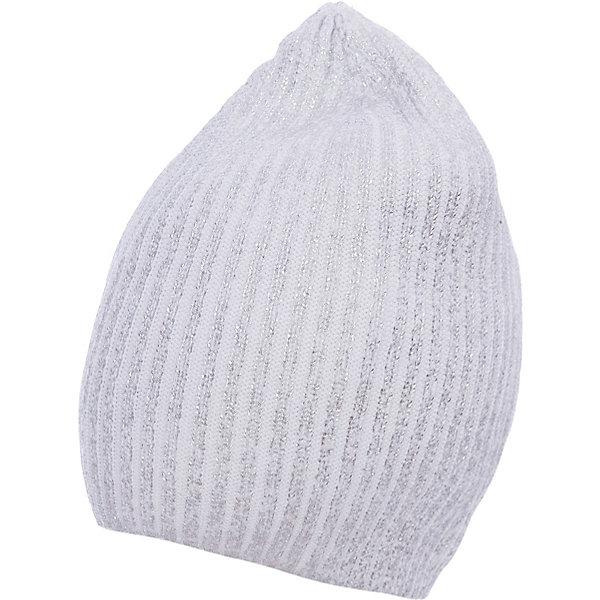 Шапка для девочки GulliverГоловные уборы<br>Стильная вязаная шапка для девочки отлично дополнит повседневный образ ребенка, придав ему индивидуальность. Необычной шапку делает серебристое напыление, создающее выразительный сияющий эффект. Мягкая, легкая, комфортная, шапка отлично разместится в кармане пальто или куртки, чтобы в любой момент защитить модницу от непогоды и ветра.<br>Состав:<br>100% хлопок<br>Ширина мм: 89; Глубина мм: 117; Высота мм: 44; Вес г: 155; Цвет: белый; Возраст от месяцев: 72; Возраст до месяцев: 84; Пол: Женский; Возраст: Детский; Размер: 54,56; SKU: 5483079;
