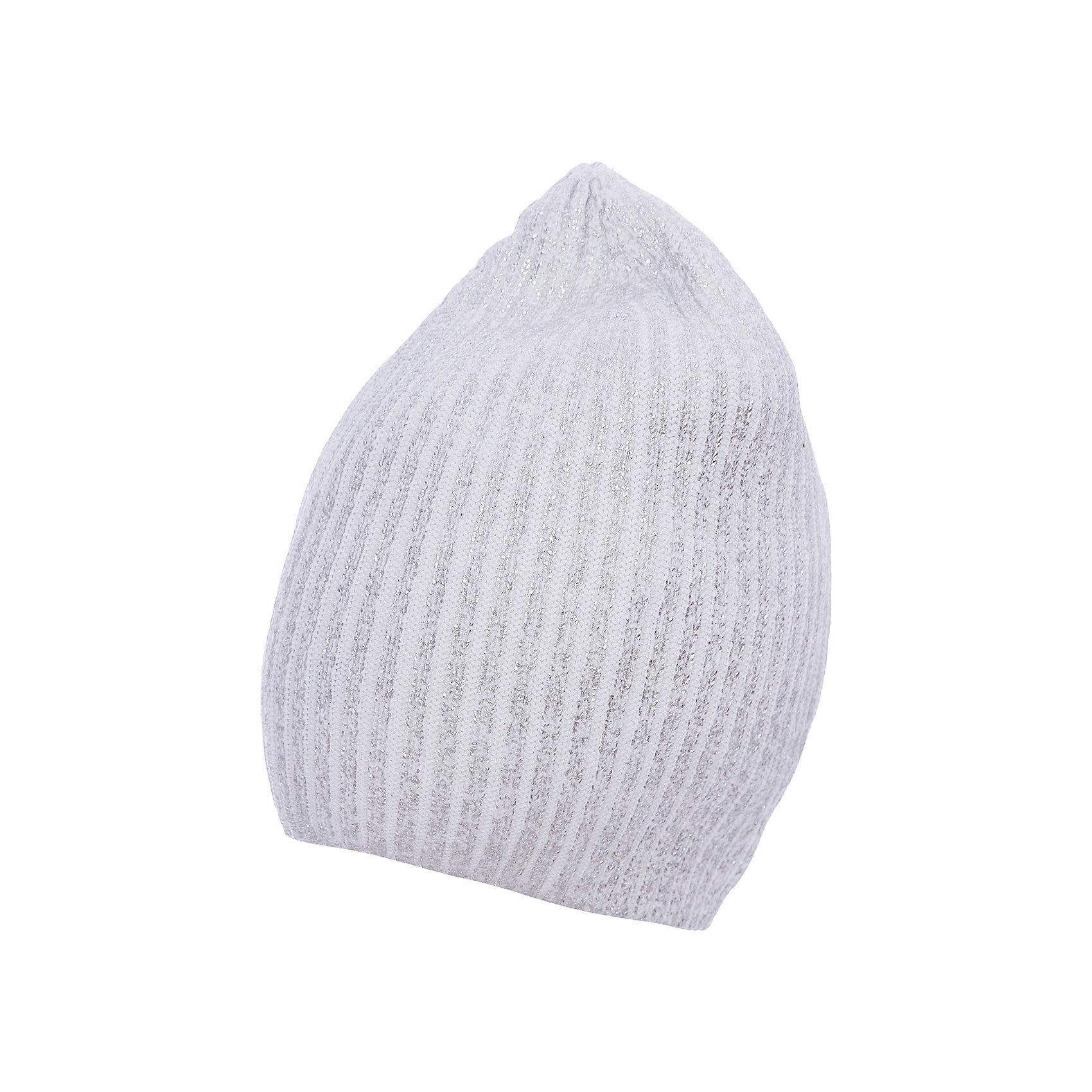 Шапка для девочки GulliverГоловные уборы<br>Стильная вязаная шапка для девочки отлично дополнит повседневный образ ребенка, придав ему индивидуальность. Необычной шапку делает серебристое напыление, создающее выразительный сияющий эффект. Мягкая, легкая, комфортная, шапка отлично разместится в кармане пальто или куртки, чтобы в любой момент защитить модницу от непогоды и ветра.<br>Состав:<br>100% хлопок<br><br>Ширина мм: 89<br>Глубина мм: 117<br>Высота мм: 44<br>Вес г: 155<br>Цвет: белый<br>Возраст от месяцев: 96<br>Возраст до месяцев: 120<br>Пол: Женский<br>Возраст: Детский<br>Размер: 56,54<br>SKU: 5483079