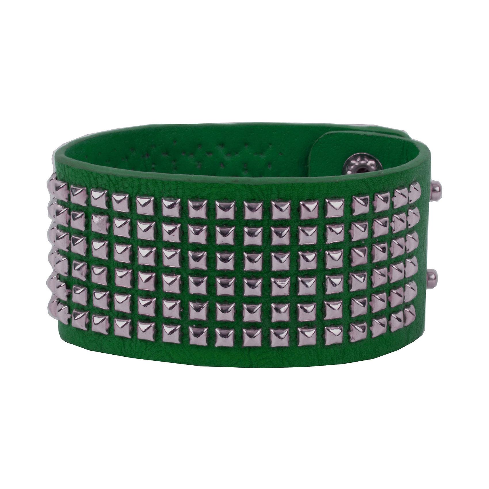 Браслет для девочки GulliverАксессуары<br>Широкий зеленый браслет из искусственной кожи с металлической фурнитурой - стильное завершение образа в стиле casual.<br>Состав:<br>бычья кожа, сталь<br><br>Ширина мм: 170<br>Глубина мм: 157<br>Высота мм: 67<br>Вес г: 117<br>Цвет: зеленый<br>Возраст от месяцев: 132<br>Возраст до месяцев: 180<br>Пол: Женский<br>Возраст: Детский<br>Размер: one size<br>SKU: 5483103