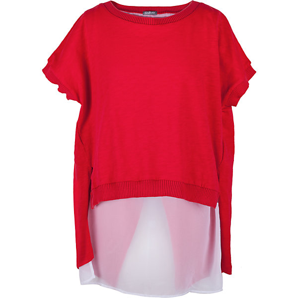 Футболка для девочки GulliverФутболки, поло и топы<br>Вкусовые предпочтения девочки-подростка предугадать не просто. Но дизайнеры Gulliver знают наверняка - современная девочка хочет быть в тренде! Коллекция Коста-Рика отражает самые последние веяния моды, а красная футболка из этой коллекции, с удлиненной линией спинки и отделкой из белого шифона - лучший образец стильной футболки без рисунка.  Интересный дизайн, оригинальный крой, насыщенный цвет - в этой футболке юная модница будет чувствовать себя уверенно и комфортно! Красная футболка - прекрасный компаньон для ярких орнаментальных изделий. Она подчеркнет индивидуальный стиль и хороший вкус юной леди.<br>Состав:<br>100% хлопок/                   100% полиэстер<br><br>Ширина мм: 199<br>Глубина мм: 10<br>Высота мм: 161<br>Вес г: 151<br>Цвет: красный<br>Возраст от месяцев: 132<br>Возраст до месяцев: 144<br>Пол: Женский<br>Возраст: Детский<br>Размер: 152,146,158,164<br>SKU: 5483110