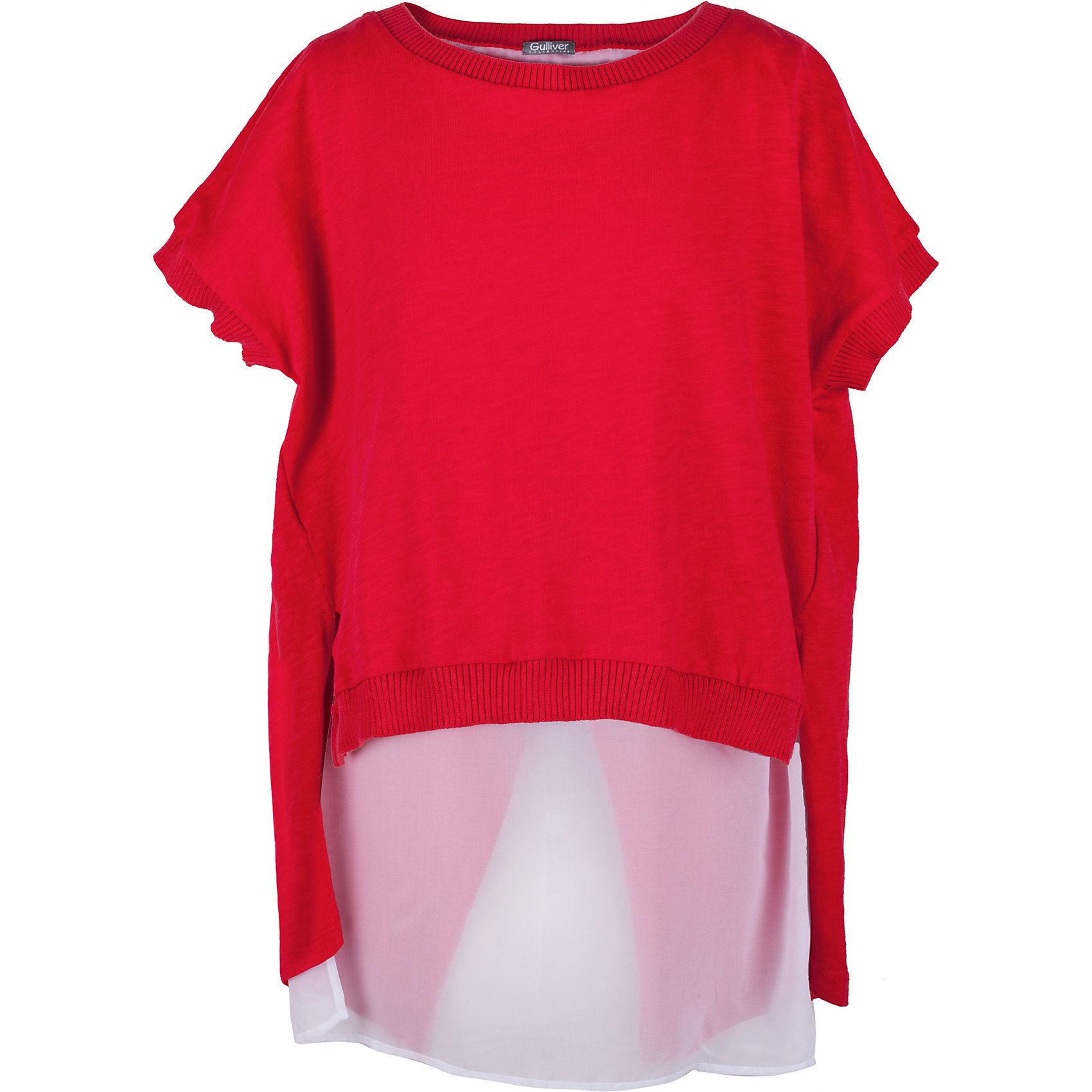 Футболка для девочки GulliverФутболки, поло и топы<br>Вкусовые предпочтения девочки-подростка предугадать не просто. Но дизайнеры Gulliver знают наверняка - современная девочка хочет быть в тренде! Коллекция Коста-Рика отражает самые последние веяния моды, а красная футболка из этой коллекции, с удлиненной линией спинки и отделкой из белого шифона - лучший образец стильной футболки без рисунка.  Интересный дизайн, оригинальный крой, насыщенный цвет - в этой футболке юная модница будет чувствовать себя уверенно и комфортно! Красная футболка - прекрасный компаньон для ярких орнаментальных изделий. Она подчеркнет индивидуальный стиль и хороший вкус юной леди.<br>Состав:<br>100% хлопок/                   100% полиэстер<br><br>Ширина мм: 199<br>Глубина мм: 10<br>Высота мм: 161<br>Вес г: 151<br>Цвет: красный<br>Возраст от месяцев: 144<br>Возраст до месяцев: 156<br>Пол: Женский<br>Возраст: Детский<br>Размер: 158,164,152,146<br>SKU: 5483110