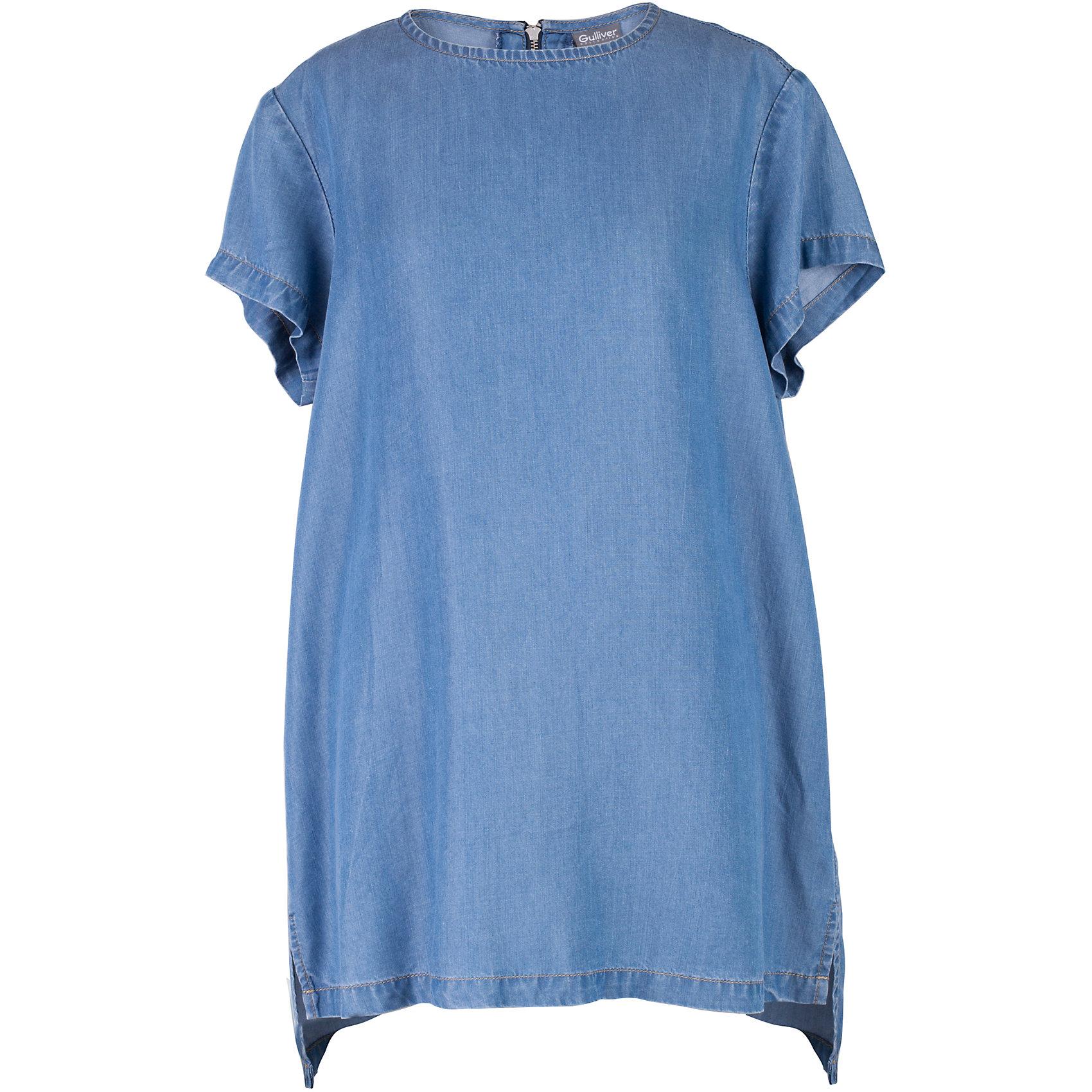Блузка для девочки GulliverБлузки и рубашки<br>C наступлением долгожданных каникул пора на время забыть о строгих белых блузках с длинным рукавом и создать модный летний гардероб, соответствующий настроению. Мягкая, легкая, комфортная блузка из тонкой джинсы - лучшая компания  для городских прогулок и отдыха у воды! Стильный лаконичный дизайн и актуальные пропорции модели понравятся девочке, идущей в ногу со временем. Если вы решили освежить летний гардероб ребенка, дополнив его новыми, необычными и оригинальными вещами, вам стоит купить блузку для девочки из коллекции Коста-Рика. Она подарит новизну, свежесть, уверенность в себе.<br>Состав:<br>100% лиоцелл<br><br>Ширина мм: 186<br>Глубина мм: 87<br>Высота мм: 198<br>Вес г: 197<br>Цвет: синий<br>Возраст от месяцев: 156<br>Возраст до месяцев: 168<br>Пол: Женский<br>Возраст: Детский<br>Размер: 164,146,152,158<br>SKU: 5483120
