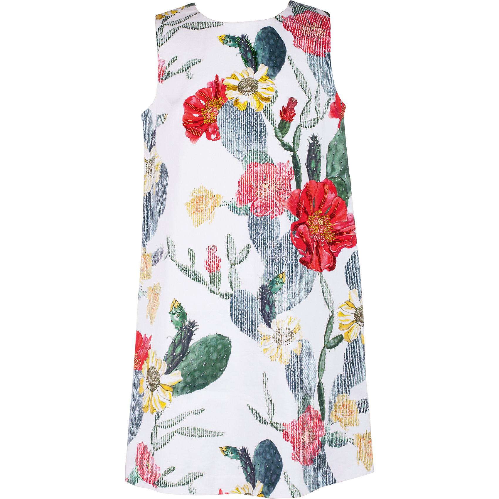Платье для девочки GulliverОдежда<br>Платье без рукавов легкого трапециевидного силуэта - тренд сезона Весна/Лето 2017! Платье смотрится потрясающе и, наверняка, понравится девочке-подростку, которая хочет быть в тренде! Оригинальный дизайн, выразительный цветочный рисунок и фрагментарное оформление сияющим стеклярусом не позволят затеряться в толпе, сделав образ ребенка ярким и оригинальным.<br>Состав:<br>97% хлопок        3% эластан<br><br>Ширина мм: 236<br>Глубина мм: 16<br>Высота мм: 184<br>Вес г: 177<br>Цвет: белый<br>Возраст от месяцев: 156<br>Возраст до месяцев: 168<br>Пол: Женский<br>Возраст: Детский<br>Размер: 164,146,152,158<br>SKU: 5483125