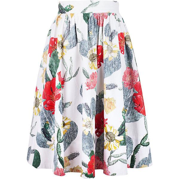 Юбка для девочки GulliverОдежда<br>Яркая текстильная юбка для девочки - прекрасный вариант для жаркого лета. Выразительный цветочный орнамент из коллекции Коста-Рика создает летнее настроение. Длина чуть ниже колен гарантирует соответствие модным трендам. С блузкой, футболкой, топом юбка составляет отличный комплект. Если вы хотите купить стильную юбку для девочки, которая сделает ее образ эффектным и запоминающимся, эта модель - отличный выбор!<br>Состав:<br>97% хлопок        3% эластан<br><br>Ширина мм: 207<br>Глубина мм: 10<br>Высота мм: 189<br>Вес г: 183<br>Цвет: белый<br>Возраст от месяцев: 144<br>Возраст до месяцев: 156<br>Пол: Женский<br>Возраст: Детский<br>Размер: 158,146,164,152<br>SKU: 5483165