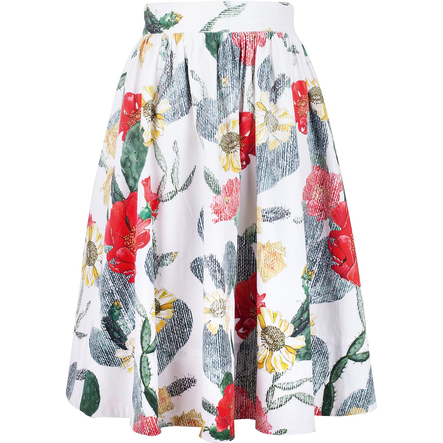 Юбка для девочки GulliverОдежда<br>Яркая текстильная юбка для девочки - прекрасный вариант для жаркого лета. Выразительный цветочный орнамент из коллекции Коста-Рика создает летнее настроение. Длина чуть ниже колен гарантирует соответствие модным трендам. С блузкой, футболкой, топом юбка составляет отличный комплект. Если вы хотите купить стильную юбку для девочки, которая сделает ее образ эффектным и запоминающимся, эта модель - отличный выбор!<br>Состав:<br>97% хлопок        3% эластан<br><br>Ширина мм: 207<br>Глубина мм: 10<br>Высота мм: 189<br>Вес г: 183<br>Цвет: белый<br>Возраст от месяцев: 120<br>Возраст до месяцев: 132<br>Пол: Женский<br>Возраст: Детский<br>Размер: 164,152,158,146<br>SKU: 5483165