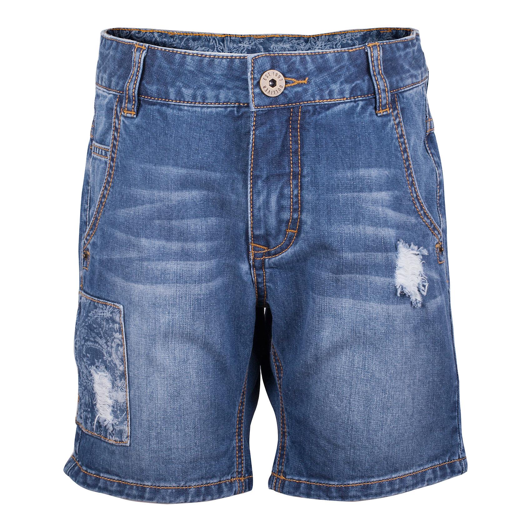 Шорты джинсовые для мальчика GulliverДжинсовая одежда<br>Школьный сезон позади и пора составлять летний гардероб ребенка... Джинсовые шорты для мальчика - вещь совершенно необходимая! Они подарят 100% комфорт и сделают образ стильным и современным. Летние шорты с эффектными повреждениями, варкой и фирменной металлической фурнитурой будут лучшим подарком для мальчика-подростка, идущего в ногу со временем. Если вы решили купить шорты, остановите свой выбор на этой модели! Модные джинсовые шорты - ваш ответ жаркому лету!<br>Состав:<br>100% хлопок<br><br>Ширина мм: 191<br>Глубина мм: 10<br>Высота мм: 175<br>Вес г: 273<br>Цвет: синий<br>Возраст от месяцев: 156<br>Возраст до месяцев: 168<br>Пол: Мужской<br>Возраст: Детский<br>Размер: 164,146,152,158<br>SKU: 5483226