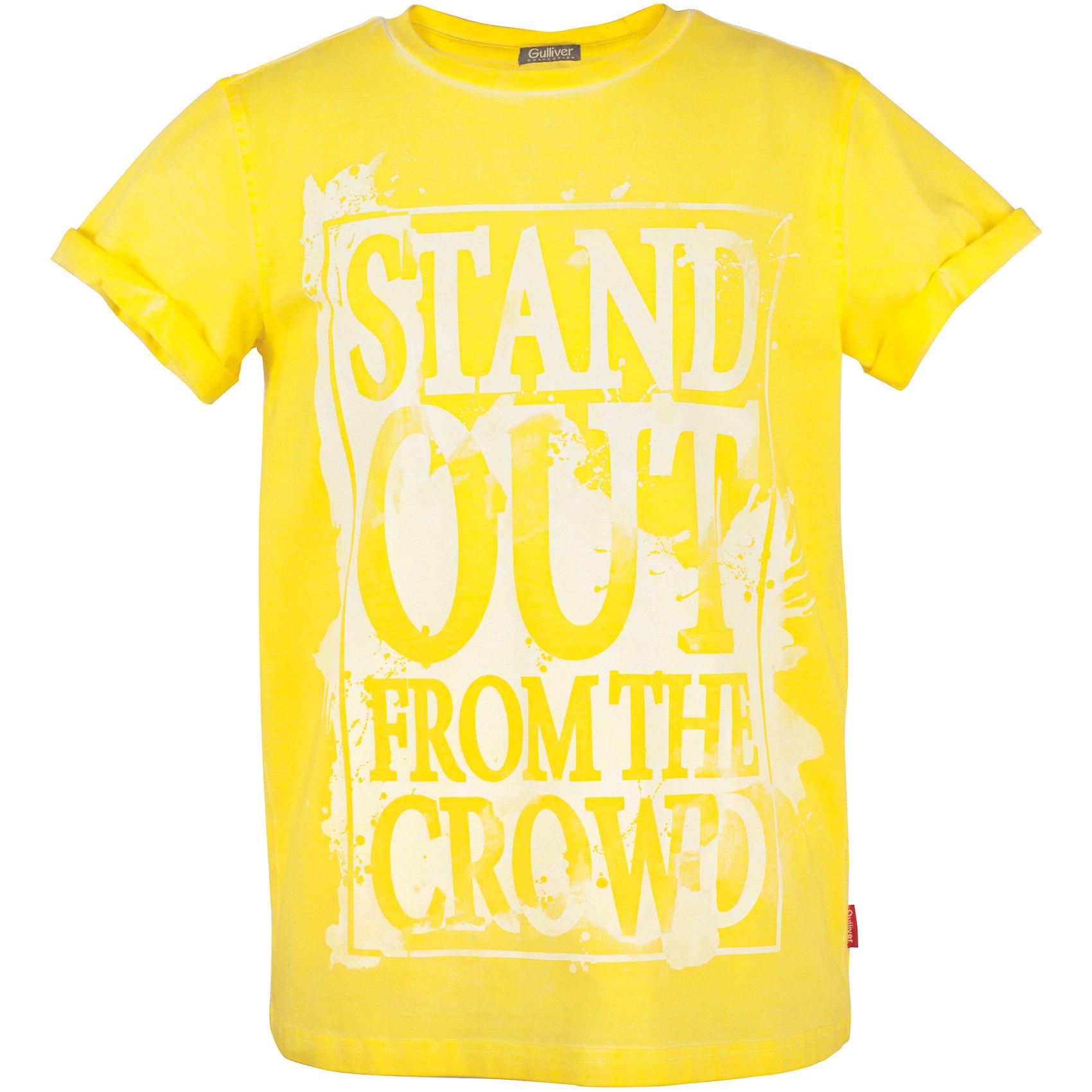 Футболка для мальчика GulliverФутболки, поло и топы<br>Модные цветные футболки должны быть в летнем гардеробе подростка. Они способны повысить настроение и сделать каждый день ярким и комфортным! Желтая футболка для мальчика из коллекции Какаду - лучший пример футболки с рисунком: оригинальный декор, выполненный в технике принта делает изделие новым и оригинальным. Футболка выглядит стильно, эффектно, интересно. Если вы решили обновить летний гардероб ребенка и купить модные футболки для лета, помните - цветная футболка для мальчика с принтом  прекрасно дополнит собой любые джинсы, шорты, брюки, создав отличный современный образ.<br>Состав:<br>95% хлопок      5% эластан<br><br>Ширина мм: 199<br>Глубина мм: 10<br>Высота мм: 161<br>Вес г: 151<br>Цвет: желтый<br>Возраст от месяцев: 156<br>Возраст до месяцев: 168<br>Пол: Мужской<br>Возраст: Детский<br>Размер: 164,146,152,158<br>SKU: 5483267
