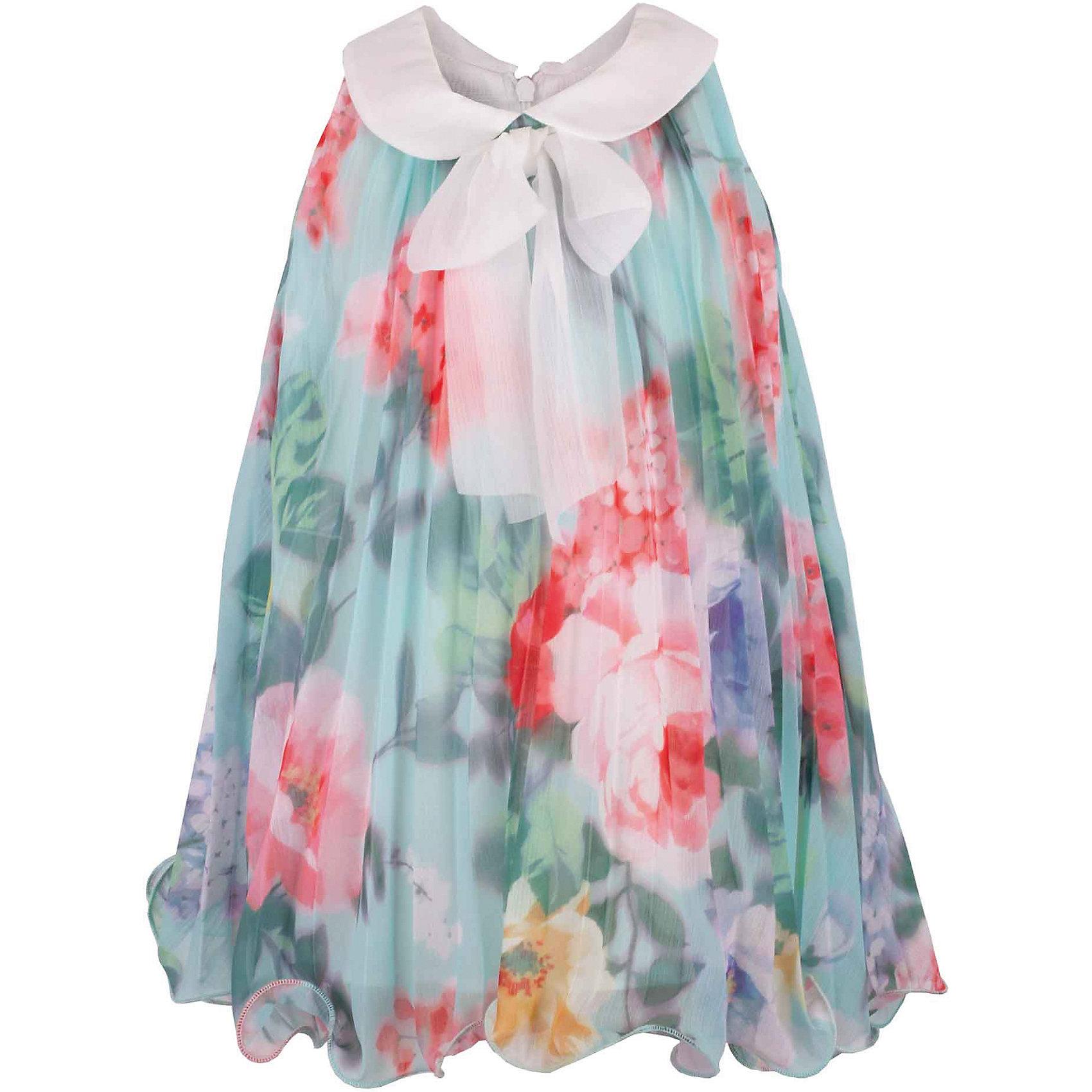 Платье для девочки GulliverОдежда<br>Воздушный орнаментальный шифон… Любое платье из него - настоящий шедевр! Потрясающий цветочный рисунок ткани в розово-ментоловой гамме, летящий трапециевидный силуэт, элегантное оформление горловины легким бантом настраивают на романтический лад, создавая нежный благородный образ, наполненной красотой и изяществом. Если вы предпочитаете иметь в гардеробе малышки одну стильную нарядную вещь, вам стоит купить платье из коллекции Акварель и вашему ребенку гарантирован образ принцессы с хорошим вкусом и благородными манерами.<br>Состав:<br>100% хлопок/100% полиэстер<br><br>Ширина мм: 236<br>Глубина мм: 16<br>Высота мм: 184<br>Вес г: 177<br>Цвет: голубой<br>Возраст от месяцев: 12<br>Возраст до месяцев: 15<br>Пол: Женский<br>Возраст: Детский<br>Размер: 80,86,80<br>SKU: 5483361