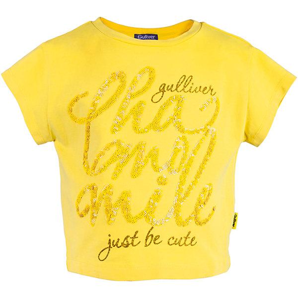 Футболка для девочки GulliverФутболки, поло и топы<br>Характеристики товара:<br><br>• цвет: жёлтый<br>• материал: 95% хлопок 5% эластан<br>• надпись из пайеток<br>• сезон: лето<br>• страна бренда: Российская Федерация<br>• страна производства: Китай<br><br>Яркая жёлтая футболка с коротким рукавом для девочки из коллекции Ромашка от бренда Гулливер. Спереди футболка декорированна надписью из пайеток.<br><br>Футболку для девочки от известного бренда Gulliver можно купить в нашем интернет-магазине.<br>Ширина мм: 199; Глубина мм: 10; Высота мм: 161; Вес г: 151; Цвет: желтый; Возраст от месяцев: 24; Возраст до месяцев: 36; Пол: Женский; Возраст: Детский; Размер: 98,104,110,116; SKU: 5483524;