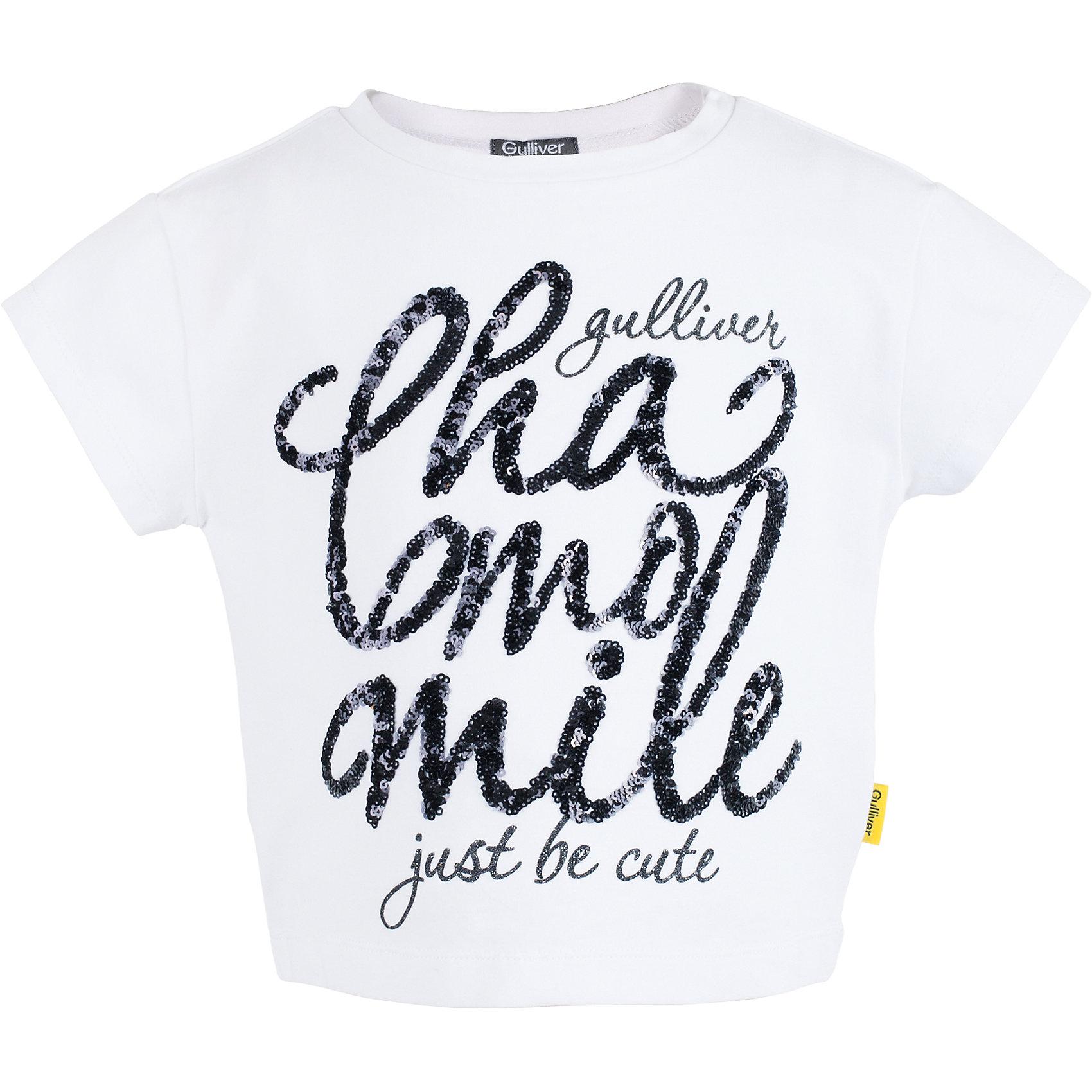 Футболка для девочки GulliverБелые футболки с коротким рукавом – классика жанра! Элегантная футболка из мягкого хлопка с эффектным шрифтовым изображением, выполненным из сияющих пайеток, сделает образ ребенка ярким и оригинальным! Белая футболка для девочки из коллекции Ромашка - лучший пример футболки с рисунком. Стильный дизайн и высокое качество исполнения принесут удовольствие от покупки и подарят отличное настроение!<br>Состав:<br>95% хлопок      5% эластан<br><br>Ширина мм: 199<br>Глубина мм: 10<br>Высота мм: 161<br>Вес г: 151<br>Цвет: белый<br>Возраст от месяцев: 24<br>Возраст до месяцев: 36<br>Пол: Женский<br>Возраст: Детский<br>Размер: 98,104,110,116<br>SKU: 5483529