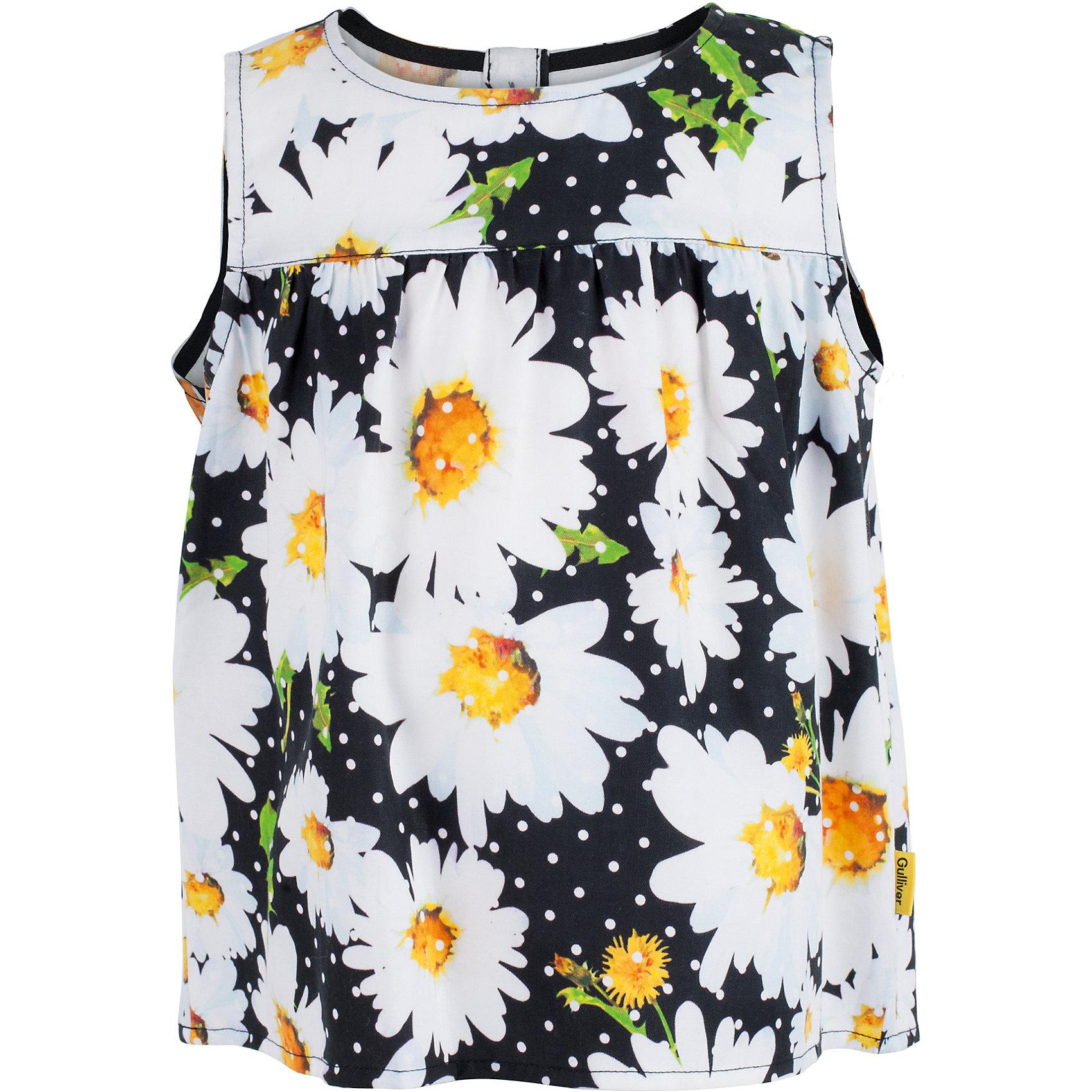 Блузка для девочки GulliverБлузки и рубашки<br>Характеристики товара:<br><br>• цвет: чёрный<br>• материал: 100% вискоза<br>• трапециевидная форма<br>• застёжка: пуговицы<br>• сезон: лето<br>• страна бренда: Российская Федерация<br>• страна производства: Китай<br><br>Легкая чёрная блузка трапециевидной форма для девочки от известного бренда Гулливер. Блузка застёгивается сзади на пуговицы по все длине. На блузку нанесён рисунок в виде цветов ромашки.<br><br>Блузку для девочки от известного бренда Gulliver можно купить в нашем интернет-магазине.<br><br>Ширина мм: 186<br>Глубина мм: 87<br>Высота мм: 198<br>Вес г: 197<br>Цвет: черный<br>Возраст от месяцев: 36<br>Возраст до месяцев: 48<br>Пол: Женский<br>Возраст: Детский<br>Размер: 104,98,116,110<br>SKU: 5483549
