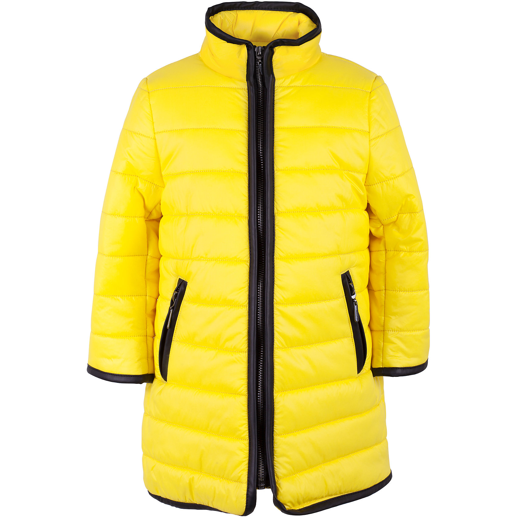 Пальто для девочки GulliverВерхняя одежда<br>Характеристики товара:<br><br>• цвет: жёлтый<br>• материал: 100% полиэстер<br>• подкладка: 50% хлопок 50% полиэстер<br>• утеплитель: 100% полиэстер 100 г/кв.м<br>• температурный режим: от +5°С до +15°С<br>• водоотталкивающая плащёвка<br>• застёжка: молния<br>• два кармана на молнии по бокам<br>• без капюшона<br>• высокий воротник-стойка<br>• сезон: демисезон<br>• страна бренда: Российская Федерация<br>• страна производства: Китай<br><br>Утеплённое пальто для девочки из коллекции Ромашки от бренда Гулливер. Пальто яркого жёлтого цвета с контрастной чёрной отделкой. Подкладка из мягкого трикотажа. Пальто отлично защити от ветра и непогоды в межсезонье.<br><br>Пальто для девочки от известного бренда Gulliver можно купить в нашем интернет-магазине.<br><br>Ширина мм: 356<br>Глубина мм: 10<br>Высота мм: 245<br>Вес г: 519<br>Цвет: желтый<br>Возраст от месяцев: 24<br>Возраст до месяцев: 36<br>Пол: Женский<br>Возраст: Детский<br>Размер: 104,110,116,98<br>SKU: 5483574