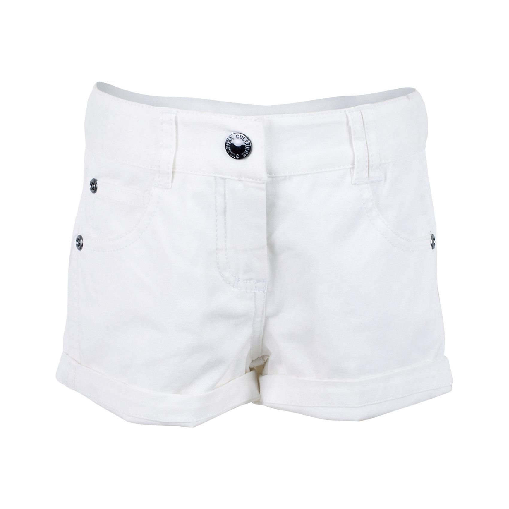 Шорты для девочки GulliverБелые шорты для девочки - необходимая вещь летнего гардероба! Мягкие, удобные, белые шорты с брендированной металлической фурнитурой - идеальный компаньон для любой футболки, майки, топа. Если вы хотите сформировать правильный летний гардероб ребенка, не забудьте купить белые шорты! Они подарят комфорт и отличное настроение!<br>Состав:<br>98% хлопок      2% эластан<br><br>Ширина мм: 191<br>Глубина мм: 10<br>Высота мм: 175<br>Вес г: 273<br>Цвет: белый<br>Возраст от месяцев: 24<br>Возраст до месяцев: 36<br>Пол: Женский<br>Возраст: Детский<br>Размер: 98,104,110,116<br>SKU: 5483579