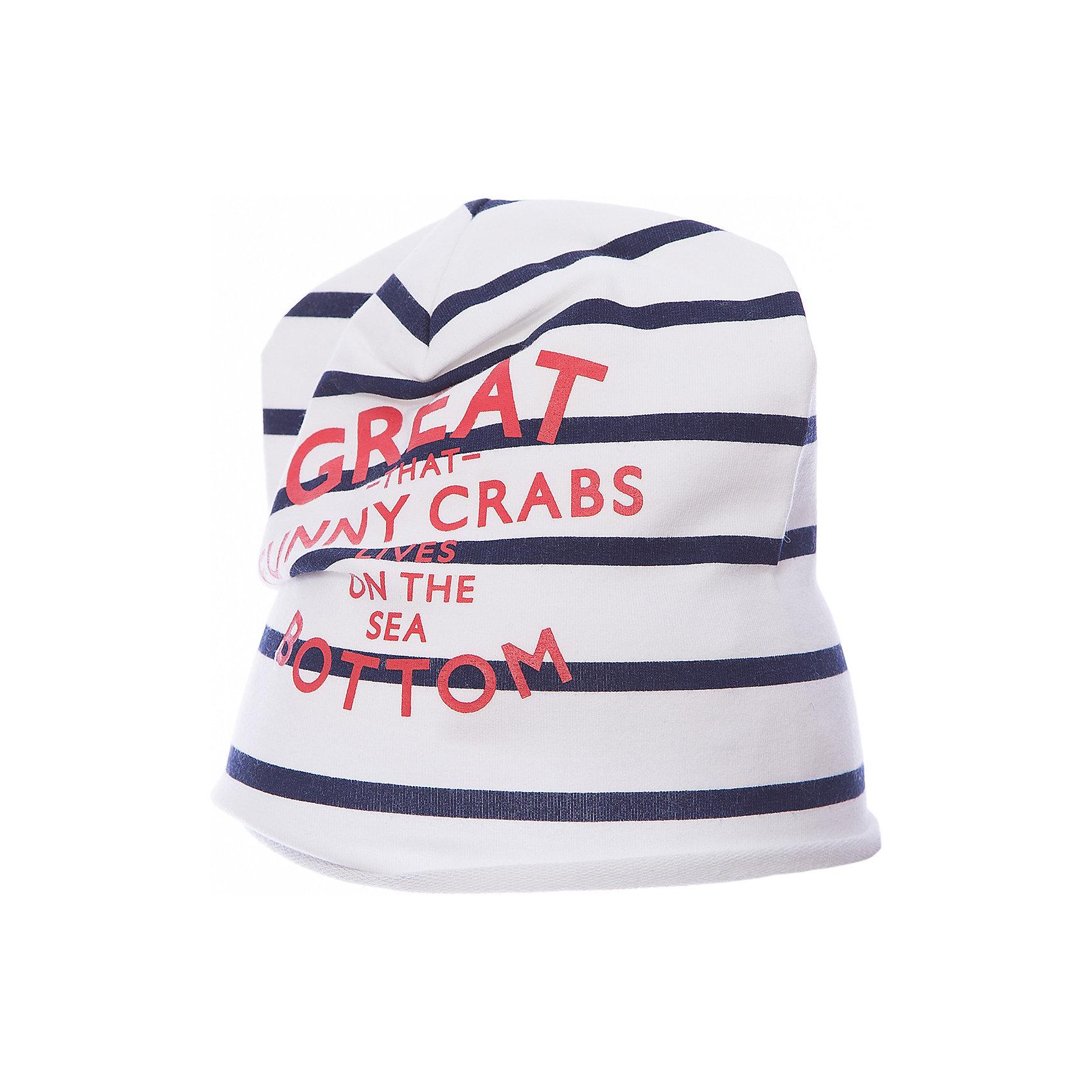 Шапка для девочки GulliverГоловные уборы<br>Вязаная шапка в полоску красиво завершит образ, сделав его новым, свежим, интересным. Если вы хотите сформировать модный позитивный весенне-летний гардероб юной леди, полосатая шапка с изящным руликом, ярким принтом и контрастным брендированным флажком - отличный выбор.<br>Состав:<br>95% хлопок      5% эластан<br><br>Ширина мм: 89<br>Глубина мм: 117<br>Высота мм: 44<br>Вес г: 155<br>Цвет: синий<br>Возраст от месяцев: 48<br>Возраст до месяцев: 60<br>Пол: Женский<br>Возраст: Детский<br>Размер: 52,50<br>SKU: 5483735