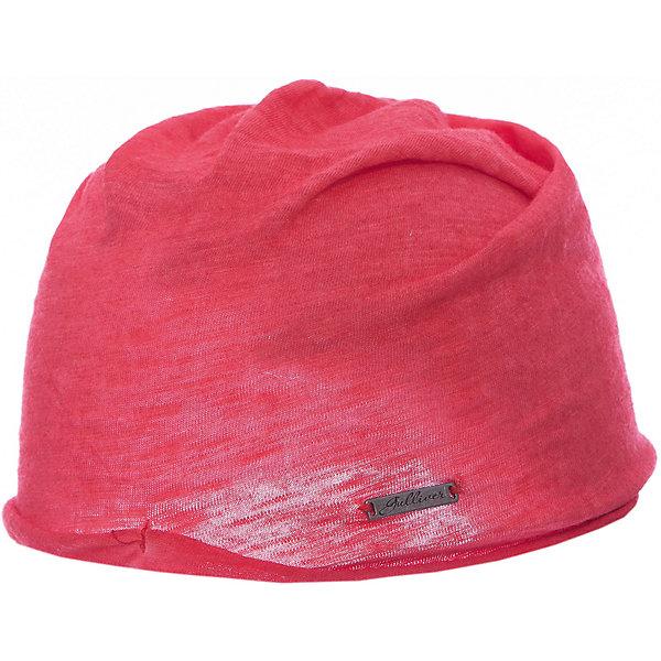 Шапка для девочки GulliverДемисезонные<br>Яркая вязаная шапка красиво завершит образ, сделав его новым, свежим, интересным. Если вы хотите сформировать модный позитивный весенне-летний гардероб юной леди, коралловая шапка с изящным руликом и брендированной металлической накладкой - отличный выбор.<br>Состав:<br>100% хлопок<br>Ширина мм: 89; Глубина мм: 117; Высота мм: 44; Вес г: 155; Цвет: розовый; Возраст от месяцев: 24; Возраст до месяцев: 36; Пол: Женский; Возраст: Детский; Размер: 50,52; SKU: 5483738;