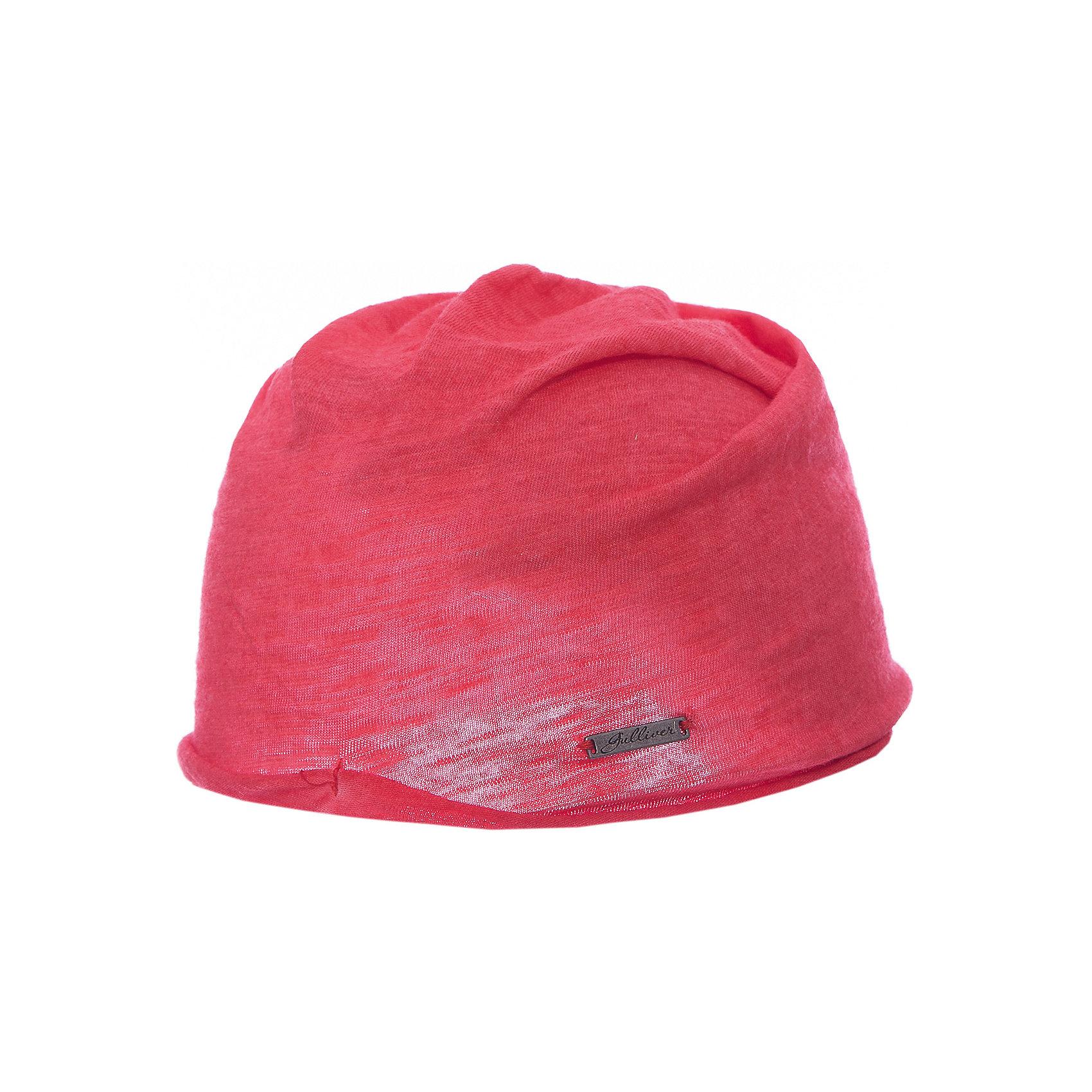 Шапка для девочки GulliverДемисезонные<br>Яркая вязаная шапка красиво завершит образ, сделав его новым, свежим, интересным. Если вы хотите сформировать модный позитивный весенне-летний гардероб юной леди, коралловая шапка с изящным руликом и брендированной металлической накладкой - отличный выбор.<br>Состав:<br>100% хлопок<br><br>Ширина мм: 89<br>Глубина мм: 117<br>Высота мм: 44<br>Вес г: 155<br>Цвет: розовый<br>Возраст от месяцев: 48<br>Возраст до месяцев: 60<br>Пол: Женский<br>Возраст: Детский<br>Размер: 52,50<br>SKU: 5483738