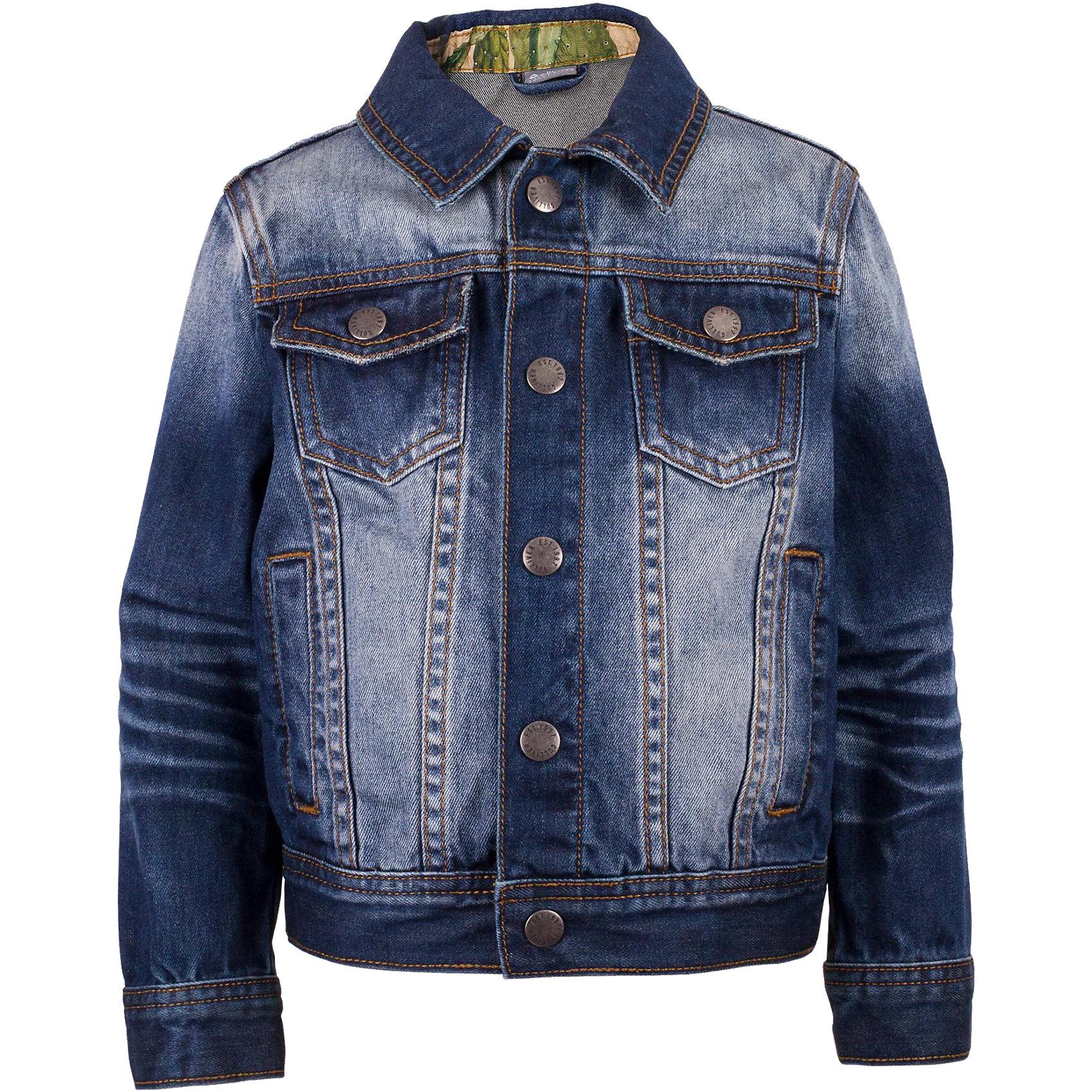 Жакет джинсовый для мальчика GulliverДжинсовая одежда<br>Модная джинсовая куртка для мальчика - изделие на все случаи жизни! Она прекрасно дополнит любой образ в стиле casual, а также станет любимым атрибутом спортивного стиля! Синяя куртка с модными потертостями, варкой и заплатками выполнена из хлопковой джинсовой ткани, что делает ее очень удобной и практичной в носке. Джинсовая детская куртка - отличный вариант на каждый день. Она создаст комфорт и придаст любому комплекту завершенность.<br>Состав:<br>100% хлопок<br><br>Ширина мм: 356<br>Глубина мм: 10<br>Высота мм: 245<br>Вес г: 519<br>Цвет: синий<br>Возраст от месяцев: 60<br>Возраст до месяцев: 72<br>Пол: Мужской<br>Возраст: Детский<br>Размер: 116,98,110,104<br>SKU: 5483811