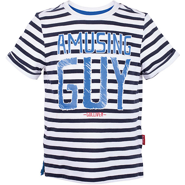 Футболка для мальчика GulliverФутболки, поло и топы<br>Стильная летняя футболка - изделие из разряда must have! Но определиться с выбором бывает не так просто. Вы хотите купить яркую детскую футболку с коротким рукавом? Предпочитаете приобрести модную необычную модель и качественную брендовую вещь, которая добавит в летний гардероб ребенка свежесть и новизну? Тогда эта классная полосатая футболка с принтом - отличный выбор! Футболка для мальчика с коротким рукавом выполнена из мягкого хлопка с эластаном, что обеспечивает бесконечный комфорт в повседневной носке.<br>Состав:<br>95% хлопок      5% эластан<br>Ширина мм: 199; Глубина мм: 10; Высота мм: 161; Вес г: 151; Цвет: синий; Возраст от месяцев: 48; Возраст до месяцев: 60; Пол: Мужской; Возраст: Детский; Размер: 110,104,116,98; SKU: 5483887;