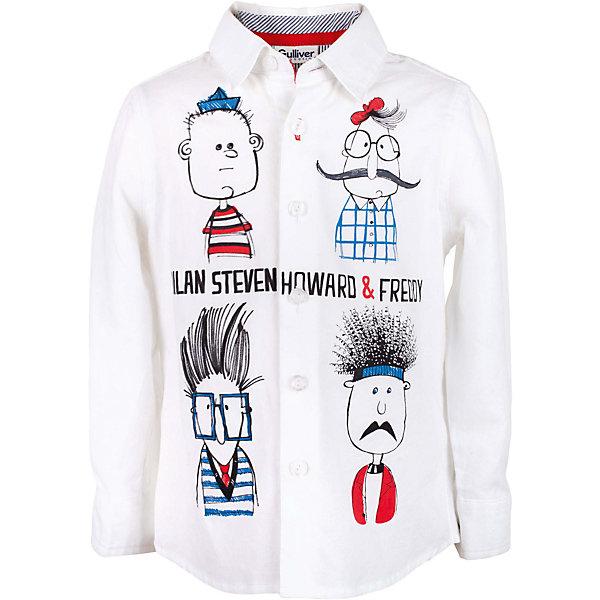 Рубашка для мальчика GulliverБлузки и рубашки<br>Эта белая рубашка для мальчика - настоящий шедевр! Интересный дизайн модели, построенный на ярком выразительном оформлении, подкупает новизной и оригинальностью. Модная рубашка из 100% хлопка с длинным рукавом - прекрасная модель для жаркого лета. Она создает отличное настроение и делает каждый день ребенка комфортным. Модель из коллекции Скетч клуб - лучший пример детской рубашки с принтом: яркий, веселый, эксцентричный рисунок обязательно понравится юному джентльмену и его маме. Если вы решили купить белую рубашку для мальчика, но не хотите в детском летнем гардеробе иметь наскучившую базу, эта яркая, позитивная, оригинальная модель - отличный выбор!<br>Состав:<br>100% хлопок<br><br>Ширина мм: 174<br>Глубина мм: 10<br>Высота мм: 169<br>Вес г: 157<br>Цвет: белый<br>Возраст от месяцев: 24<br>Возраст до месяцев: 36<br>Пол: Мужской<br>Возраст: Детский<br>Размер: 98,104,116,110<br>SKU: 5483907