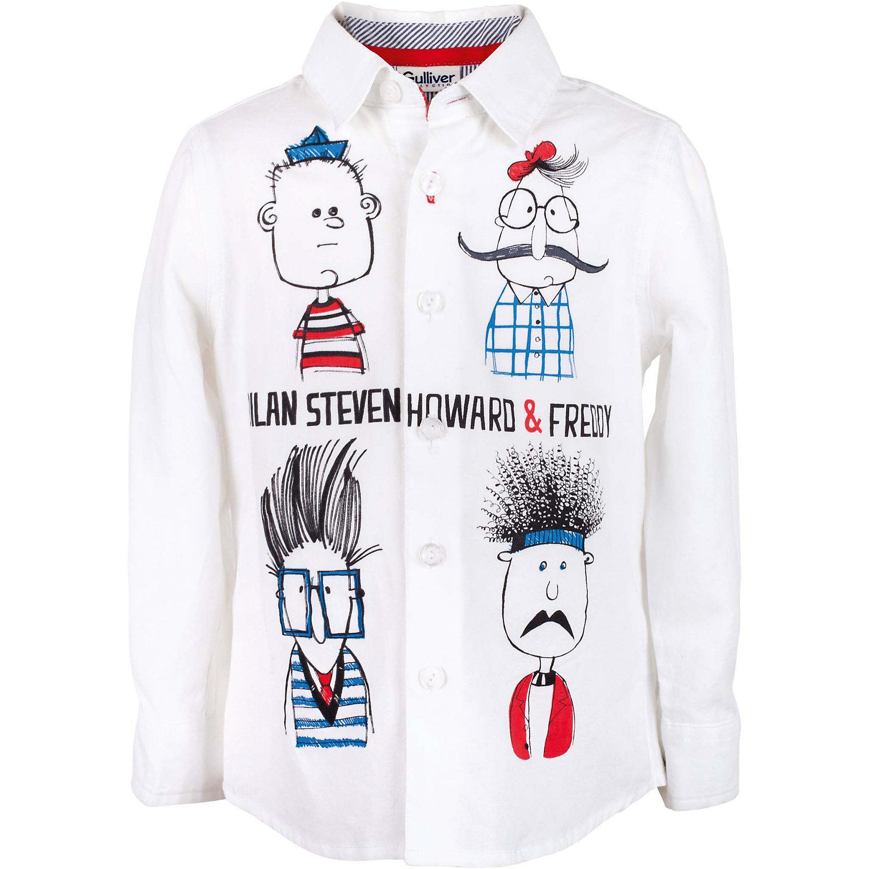 Рубашка для мальчика GulliverБлузки и рубашки<br>Эта белая рубашка для мальчика - настоящий шедевр! Интересный дизайн модели, построенный на ярком выразительном оформлении, подкупает новизной и оригинальностью. Модная рубашка из 100% хлопка с длинным рукавом - прекрасная модель для жаркого лета. Она создает отличное настроение и делает каждый день ребенка комфортным. Модель из коллекции Скетч клуб - лучший пример детской рубашки с принтом: яркий, веселый, эксцентричный рисунок обязательно понравится юному джентльмену и его маме. Если вы решили купить белую рубашку для мальчика, но не хотите в детском летнем гардеробе иметь наскучившую базу, эта яркая, позитивная, оригинальная модель - отличный выбор!<br>Состав:<br>100% хлопок<br><br>Ширина мм: 174<br>Глубина мм: 10<br>Высота мм: 169<br>Вес г: 157<br>Цвет: белый<br>Возраст от месяцев: 24<br>Возраст до месяцев: 36<br>Пол: Мужской<br>Возраст: Детский<br>Размер: 98,104,110,116<br>SKU: 5483907