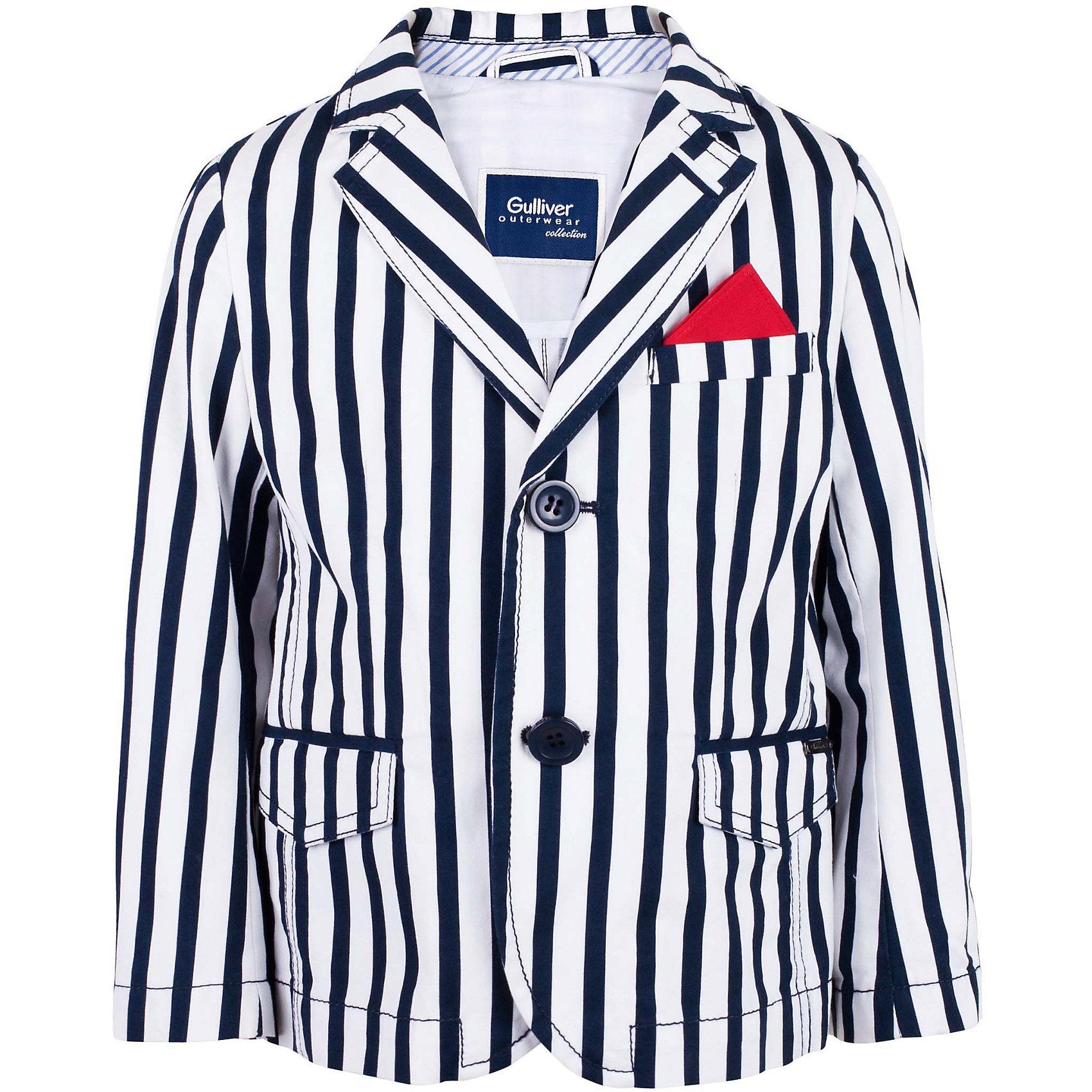 Пиджак для мальчика GulliverЭтот пиджак - настоящий шедевр! Яркий, стильный, необычный, полосатый детский пиджак - основной акцент летнего гардероба! Он идеально дополнит джинсы, шорты, брюки, придав образу особый шик и элегантность. Несмотря на очевидную экстравагантность, спектр использования этого пиджака весьма широк. И на светском мероприятии, и на городской прогулке к юному моднику будут прикованы восхищенные взгляды. Если вы решили обновить весенне-летний гардероб мальчика, сделав его модным, свежим, интересным, без классного пиджака вам не обойтись. Купить детский пиджак в полоску от Gulliver, значит, подарить ребенку особый стиль, новизну образа, индивидуальность!<br>Состав:<br>100% хлопок<br><br>Ширина мм: 247<br>Глубина мм: 16<br>Высота мм: 140<br>Вес г: 225<br>Цвет: синий<br>Возраст от месяцев: 24<br>Возраст до месяцев: 36<br>Пол: Мужской<br>Возраст: Детский<br>Размер: 98,104,110,116<br>SKU: 5483922