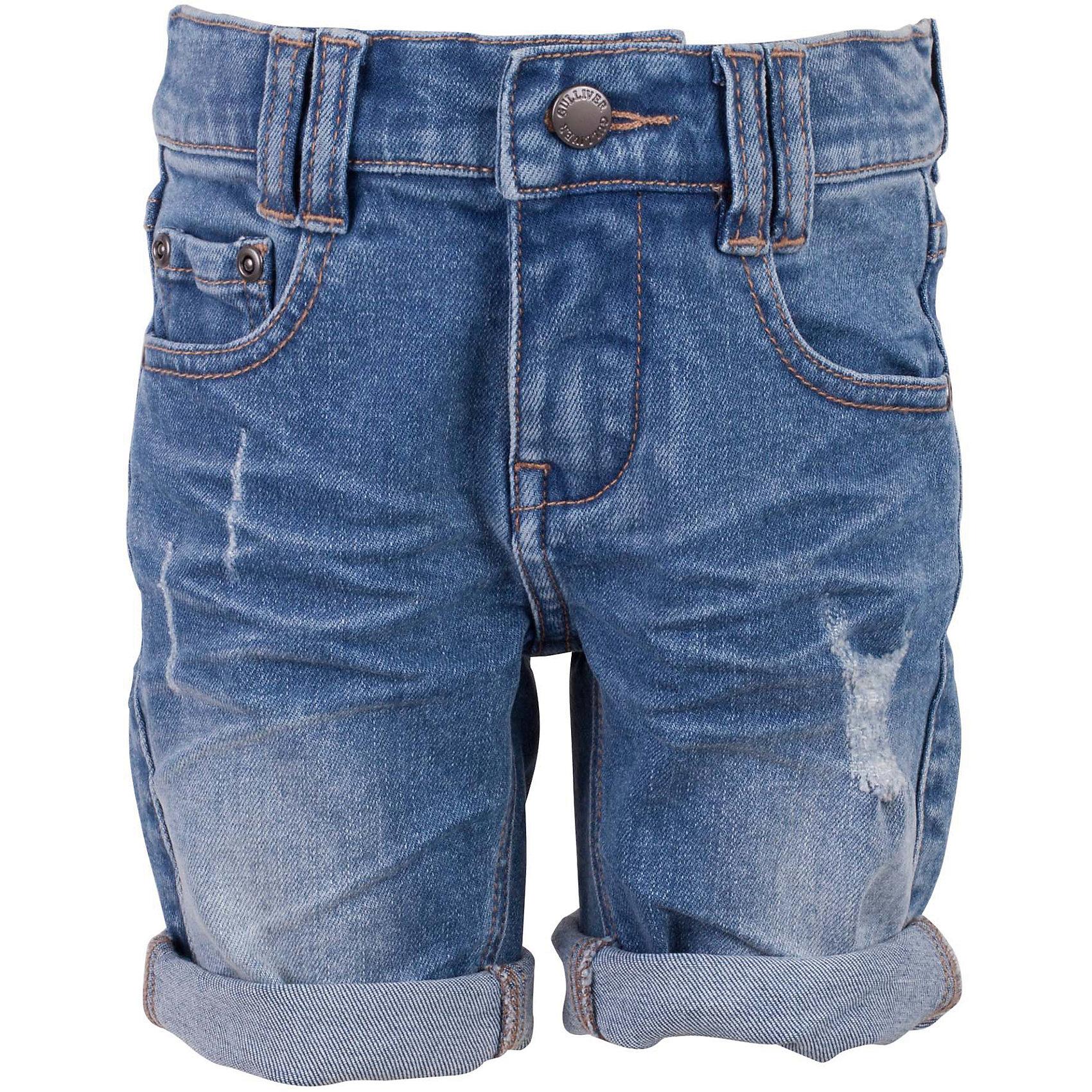 Шорты для мальчика GulliverДжинсовые шорты для мальчика - изделие из разряда must have! Во-первых, это стильный удобный элемент гардероба, идеально подходящий к любой футболке, майке, джемперу. Во-вторых, джинсовые шорты очень практичны, а значит, незаменимы для активных игр и долгих прогулок. Многие, конечно, уже привыкли к стильным джинсовым изделиям от Gulliver! Модная посадка изделия на фигуре, варка, повреждения, потертости... В сезоне Весна/Лето 2017 у вас снова есть шанс купить шорты от лучшего бренда! Голубые джинсовые шорты для мальчика - оптимальное решение для яркого и комфортного лета!<br>Состав:<br>100% хлопок<br><br>Ширина мм: 191<br>Глубина мм: 10<br>Высота мм: 175<br>Вес г: 273<br>Цвет: голубой<br>Возраст от месяцев: 36<br>Возраст до месяцев: 48<br>Пол: Мужской<br>Возраст: Детский<br>Размер: 104,110,116,98<br>SKU: 5483927