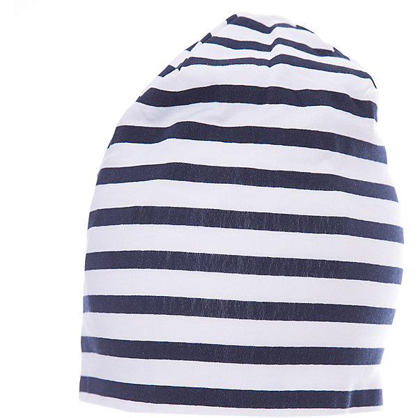 Шапка для мальчика GulliverДемисезонные<br>Трикотажная шапка в полоску красиво завершит образ, сделав его новым, свежим, интересным. Если вы хотите сформировать комфортный и  позитивный весенне-летний гардероб юного модника, полосатая шапка с контрастным брендированным флажком - отличный выбор.<br>Состав:<br>95% хлопок      5% эластан<br>Ширина мм: 89; Глубина мм: 117; Высота мм: 44; Вес г: 155; Цвет: синий; Возраст от месяцев: 24; Возраст до месяцев: 36; Пол: Мужской; Возраст: Детский; Размер: 50,52; SKU: 5483940;