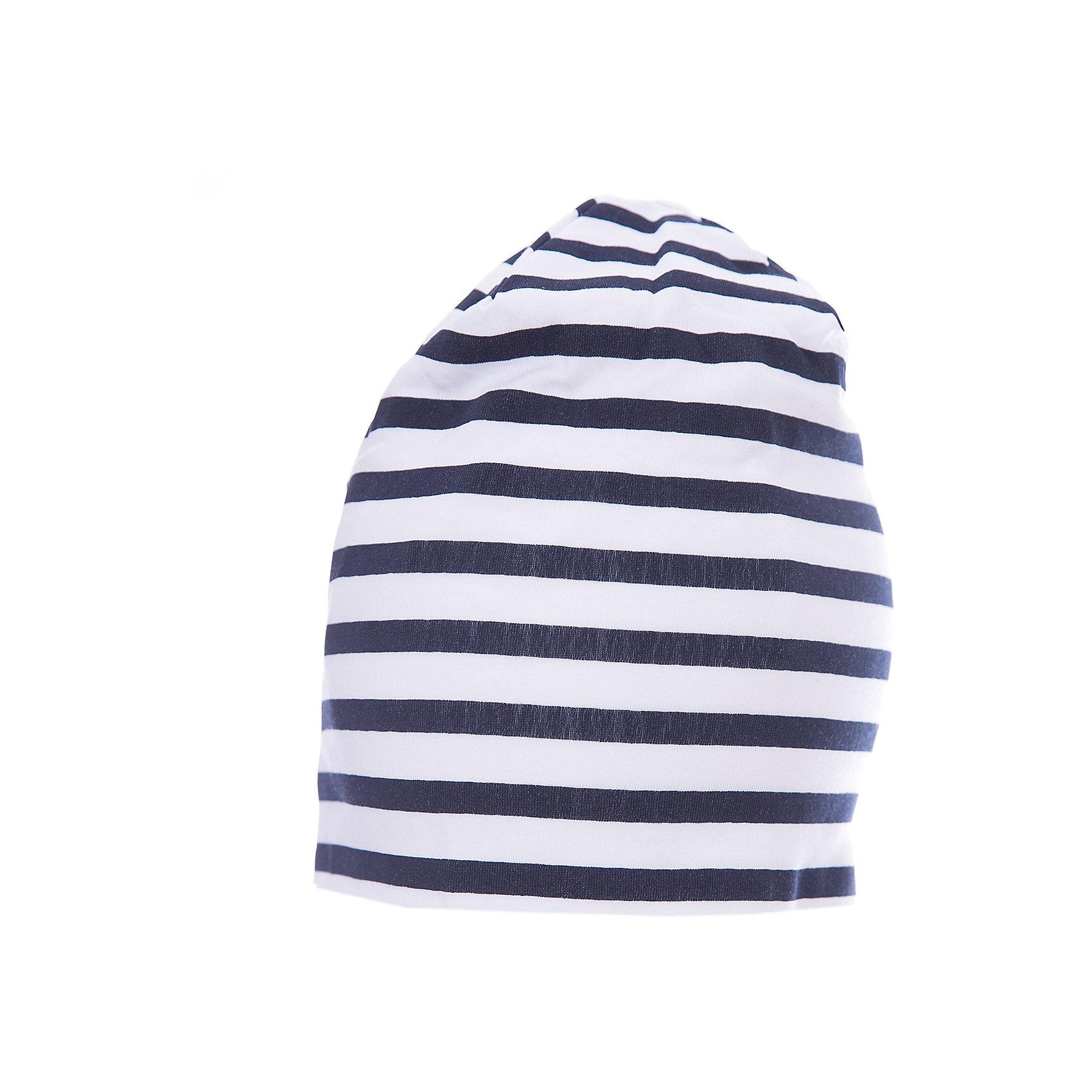 Шапка для мальчика GulliverГоловные уборы<br>Трикотажная шапка в полоску красиво завершит образ, сделав его новым, свежим, интересным. Если вы хотите сформировать комфортный и  позитивный весенне-летний гардероб юного модника, полосатая шапка с контрастным брендированным флажком - отличный выбор.<br>Состав:<br>95% хлопок      5% эластан<br><br>Ширина мм: 89<br>Глубина мм: 117<br>Высота мм: 44<br>Вес г: 155<br>Цвет: синий<br>Возраст от месяцев: 48<br>Возраст до месяцев: 60<br>Пол: Мужской<br>Возраст: Детский<br>Размер: 52,50<br>SKU: 5483940