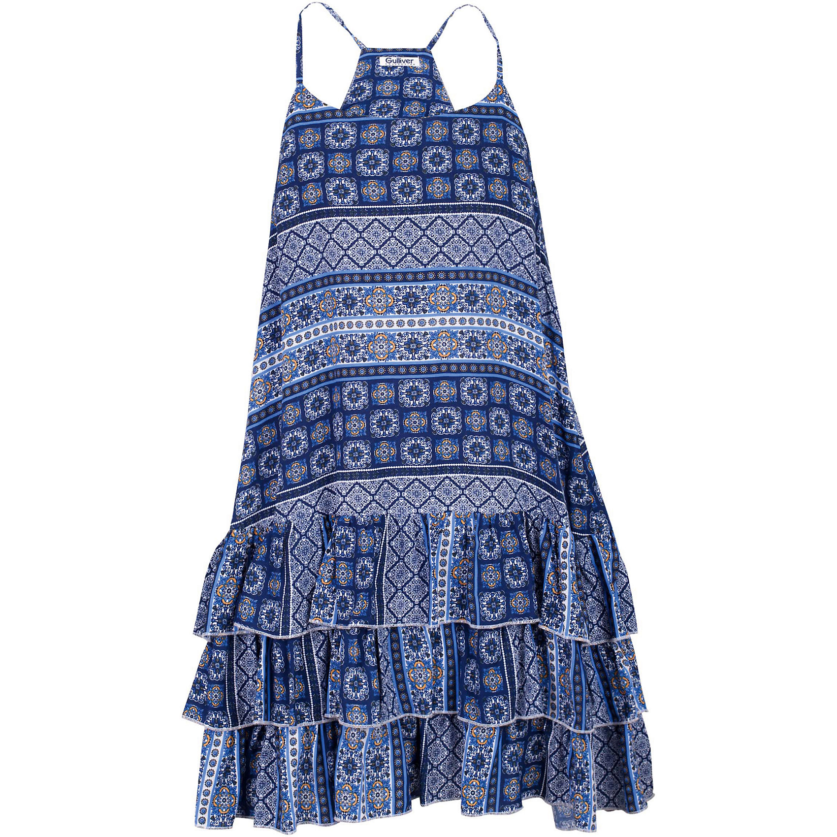 Платье для девочки GulliverПлатья и сарафаны<br>Ох уж, эти модницы... Их летний гардероб пестрит нарядами, но разве можно пройти мимо нового сарафана? Летний легкий сарафан для девочки выглядит потрясающе! Выполненный из тонкого орнаментального струящегося текстиля, сарафан очень пластичный, подвижный, приятный к телу. Элегантный трапециевидный силуэт, три ряда оборок по низу изделия делают сарафан ярким, заметным элементом летнего образа. Вы хотите купить сарафан, чтобы освежить гардероб ребенка, сделав его ярким, практичным и позитивным? Этот сарафан - лучшее решение для каждого дня жаркого лета!<br>Состав:<br>100% вискоза<br><br>Ширина мм: 236<br>Глубина мм: 16<br>Высота мм: 184<br>Вес г: 177<br>Цвет: разноцветный<br>Возраст от месяцев: 72<br>Возраст до месяцев: 84<br>Пол: Женский<br>Возраст: Детский<br>Размер: 122,140,134,128<br>SKU: 5483996