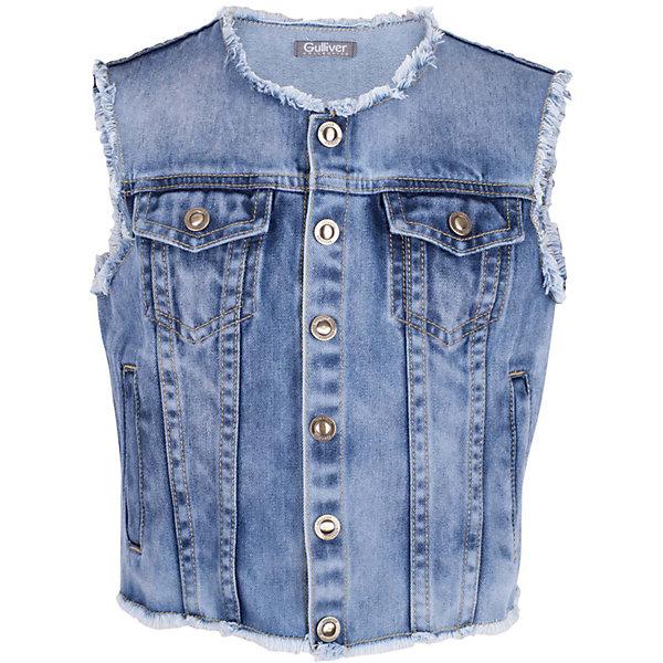 Жилет джинсовый для девочки GulliverЖилеты<br>Джинсовый жилет - хит сезона Весна/Лето 2017! При этом, его не назовешь вещью первой необходимости. Он красиво дополнит любую футболку, майку, сарафан, сделав образ свежее и ярче! Жилет для девочки выполнен из денима с модными потертостями, открытыми срезами горловины, проймы, низа изделия и оформлен фирменной фурнитурой. Романтическому образу жилет добавит динамики и драйва, а комплекту в стиле casual придаст модную многослойность. Вы хотите купить детский джинсовый жилет, чтобы дополнить гардероб чем-то новым и оригинальным? Стильный джинсовый жилет отлично справится с этой задачей!<br>Состав:<br>100% хлопок<br>Ширина мм: 356; Глубина мм: 10; Высота мм: 245; Вес г: 519; Цвет: синий; Возраст от месяцев: 72; Возраст до месяцев: 84; Пол: Женский; Возраст: Детский; Размер: 122,140,134,128; SKU: 5484016;