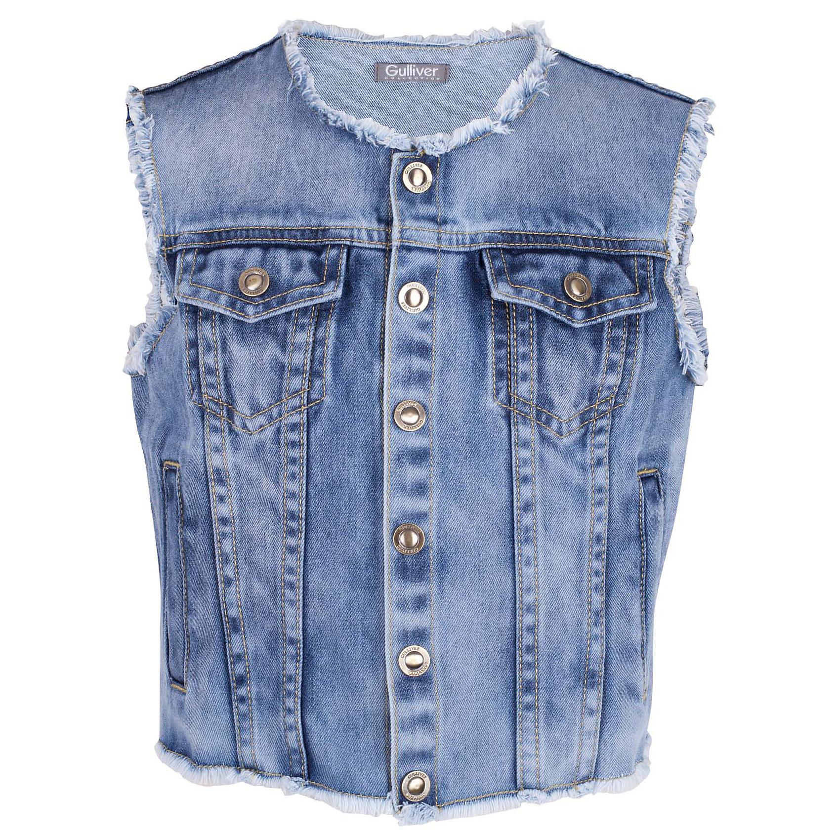 Жилет джинсовый для девочки GulliverЖилеты<br>Джинсовый жилет - хит сезона Весна/Лето 2017! При этом, его не назовешь вещью первой необходимости. Он красиво дополнит любую футболку, майку, сарафан, сделав образ свежее и ярче! Жилет для девочки выполнен из денима с модными потертостями, открытыми срезами горловины, проймы, низа изделия и оформлен фирменной фурнитурой. Романтическому образу жилет добавит динамики и драйва, а комплекту в стиле casual придаст модную многослойность. Вы хотите купить детский джинсовый жилет, чтобы дополнить гардероб чем-то новым и оригинальным? Стильный джинсовый жилет отлично справится с этой задачей!<br>Состав:<br>100% хлопок<br><br>Ширина мм: 356<br>Глубина мм: 10<br>Высота мм: 245<br>Вес г: 519<br>Цвет: синий<br>Возраст от месяцев: 108<br>Возраст до месяцев: 120<br>Пол: Женский<br>Возраст: Детский<br>Размер: 140,122,128,134<br>SKU: 5484016