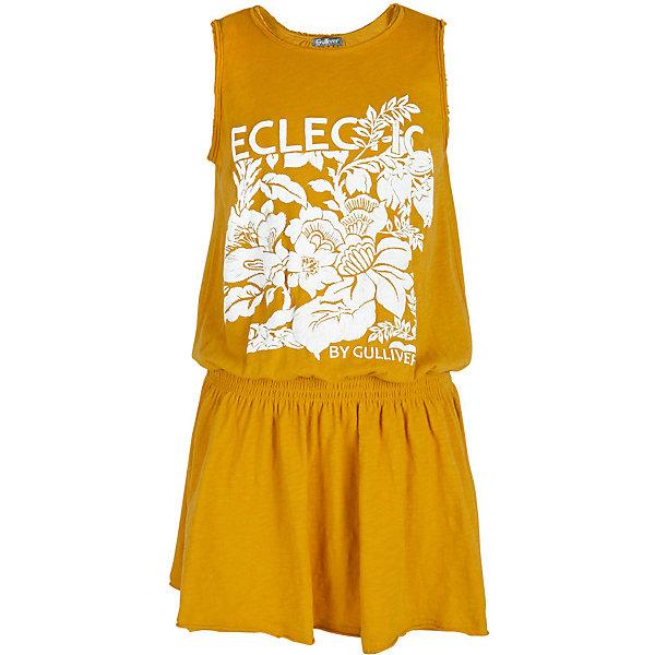 Платье для девочки GulliverПлатья и сарафаны<br>Замечательный сарафан для жаркого лета наверняка оценит и сама модница, и ее мама. Легкий, удобный, комфортный, сарафан создаст прекрасный внешний вид и подарит свободу движений. Трикотажное полотно обеспечит красивое и комфортное прилегание к телу, расклешенная юбка сделает образ девочки нежным и женственным. Белый объемный принт - яркий цветовой акцент модели, создающий настроение. Одним словом, если вы планируете купить сарафан на каждый день для красоты и комфорта ребенка, эта модель - то, что нужно!<br>Состав:<br>100% хлопок<br>Ширина мм: 236; Глубина мм: 16; Высота мм: 184; Вес г: 177; Цвет: желтый; Возраст от месяцев: 108; Возраст до месяцев: 120; Пол: Женский; Возраст: Детский; Размер: 140,122,128,134; SKU: 5484021;
